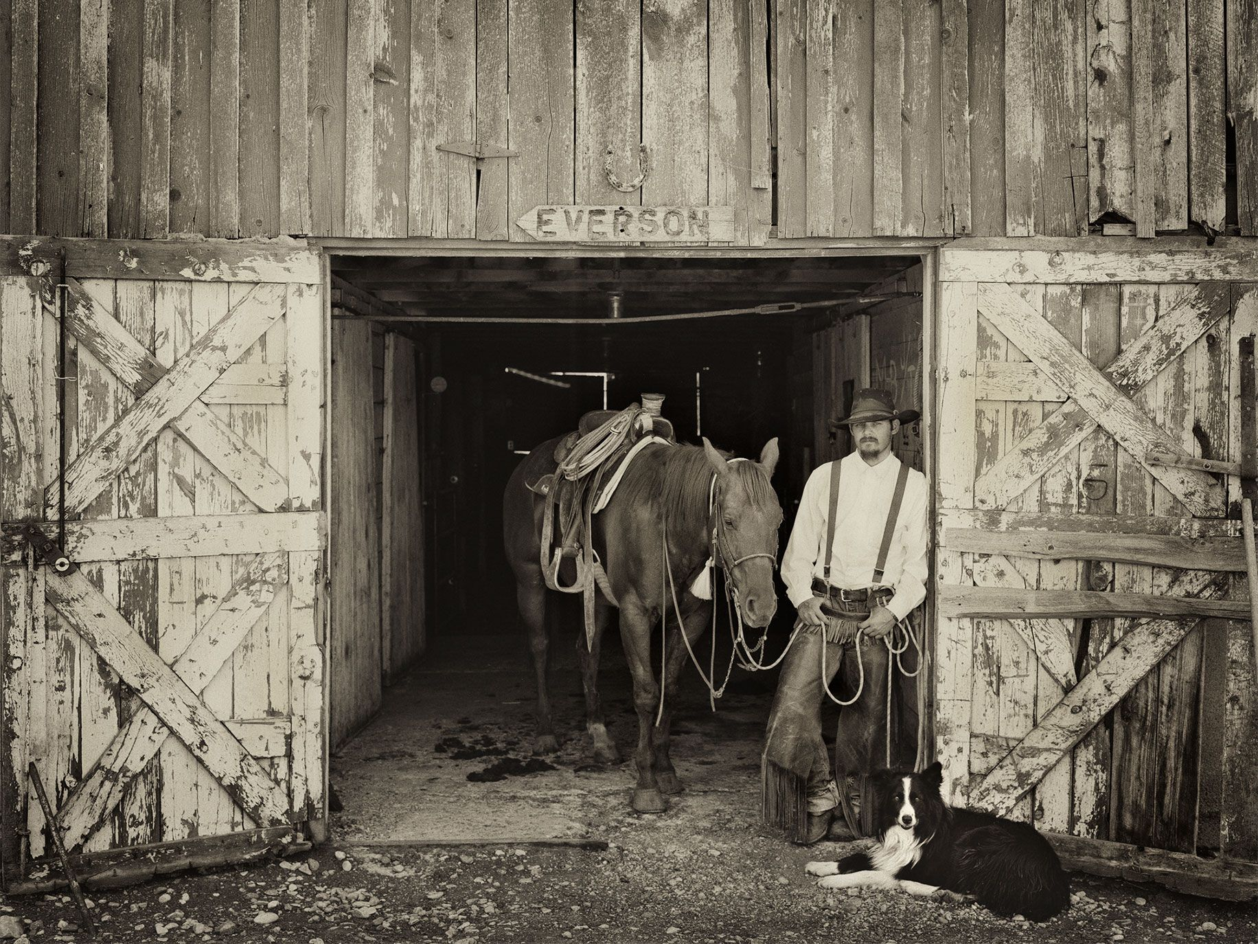 William Faulk with his horse, Chester, and border collie, Newt, near Denton, Mont., 2014.