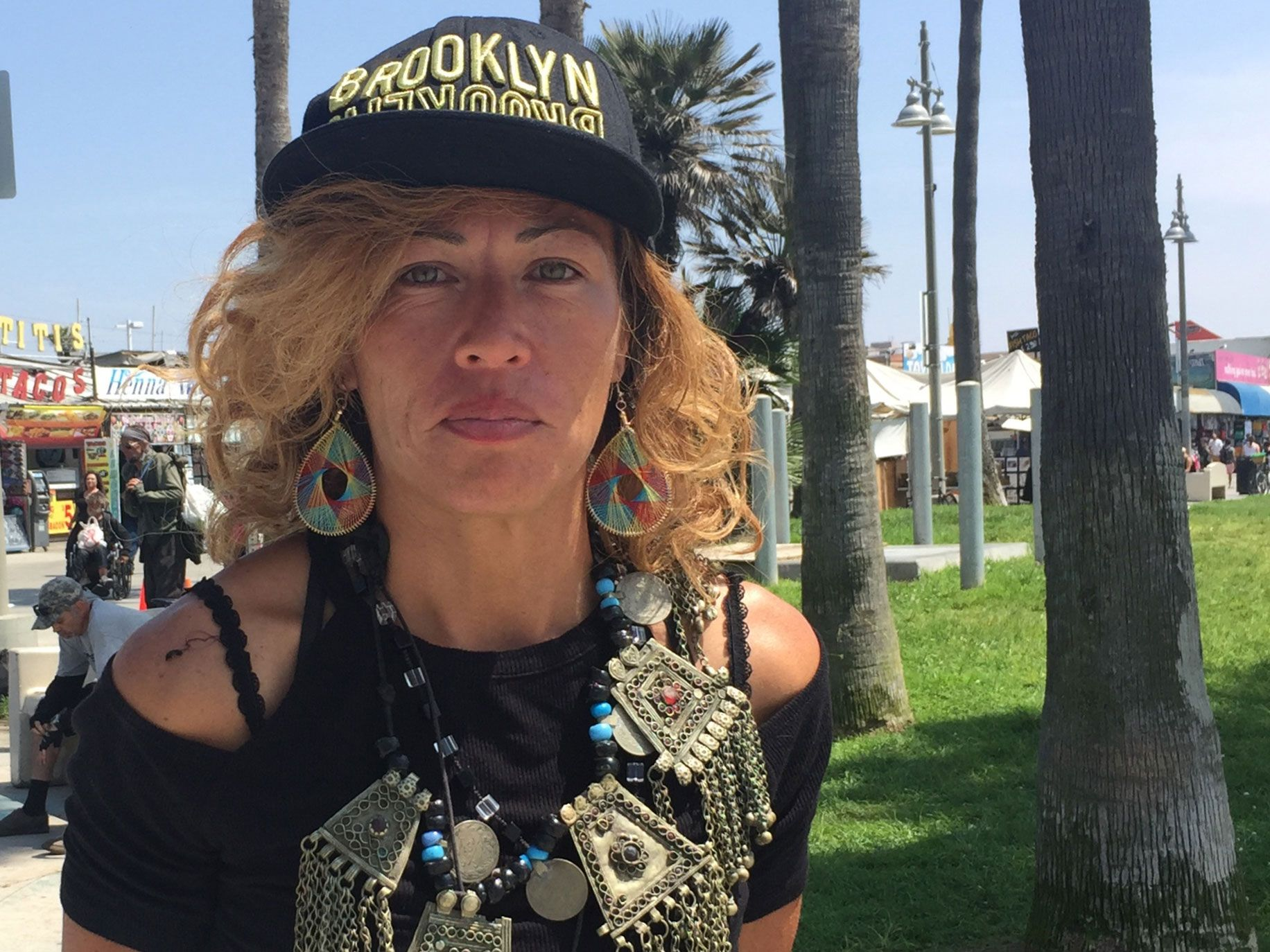 """Anna """"Angel"""" Rincon, 42, has been living on Venice Beach since last April. When the weather gets cold, she hopes to move to an apartment with friends in nearby Culver City."""