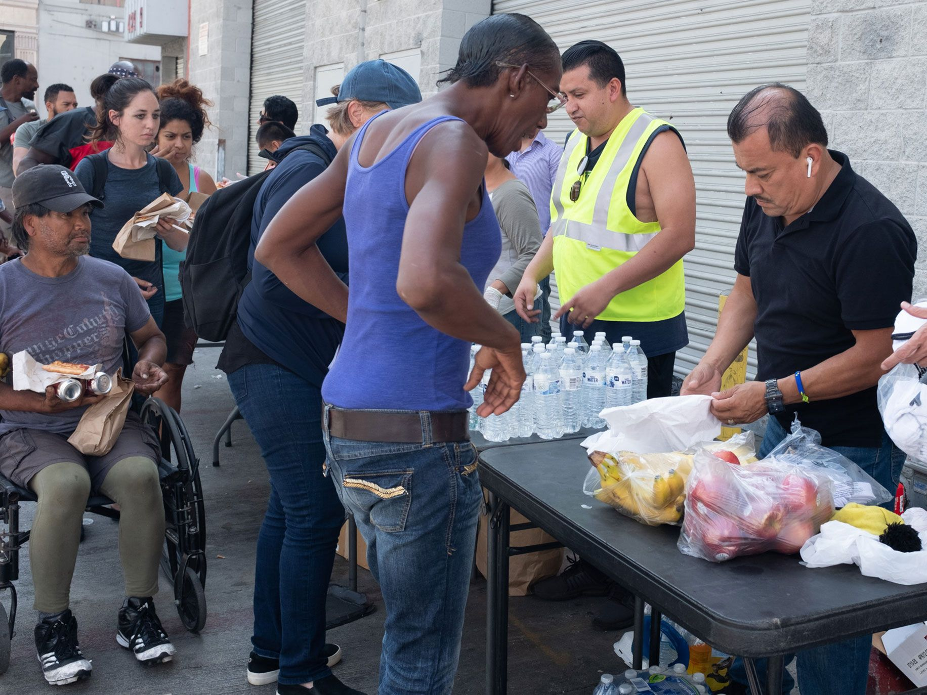 One of many pop-up sites set up by volunteers, most of them connected to churches, to distribute water, food, and clothing.