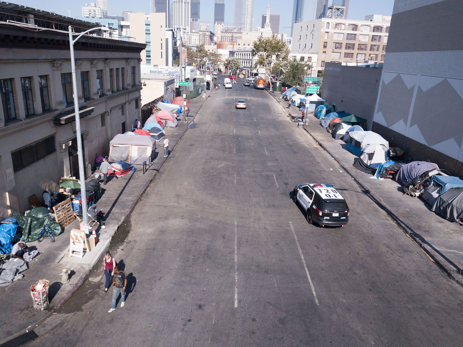 Tents line both sides of Sixth Street, in the heart of Skid Row, just minutes from downtown Los Angeles. This 50-block neighborhood is home to the largest concentration of homeless people in the U.S.