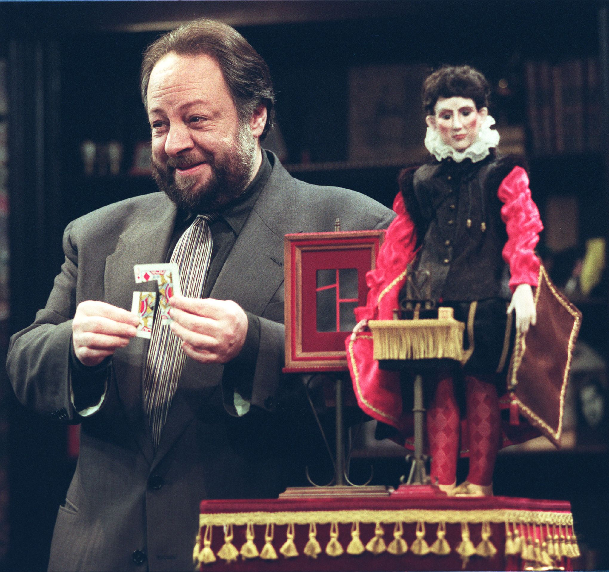 """This photo shows Ricky Jay during a rehearsal for his show, """"Ricky Jay & His 52 Assistants"""" at the Tiffany Theatre in West Los Angeles."""