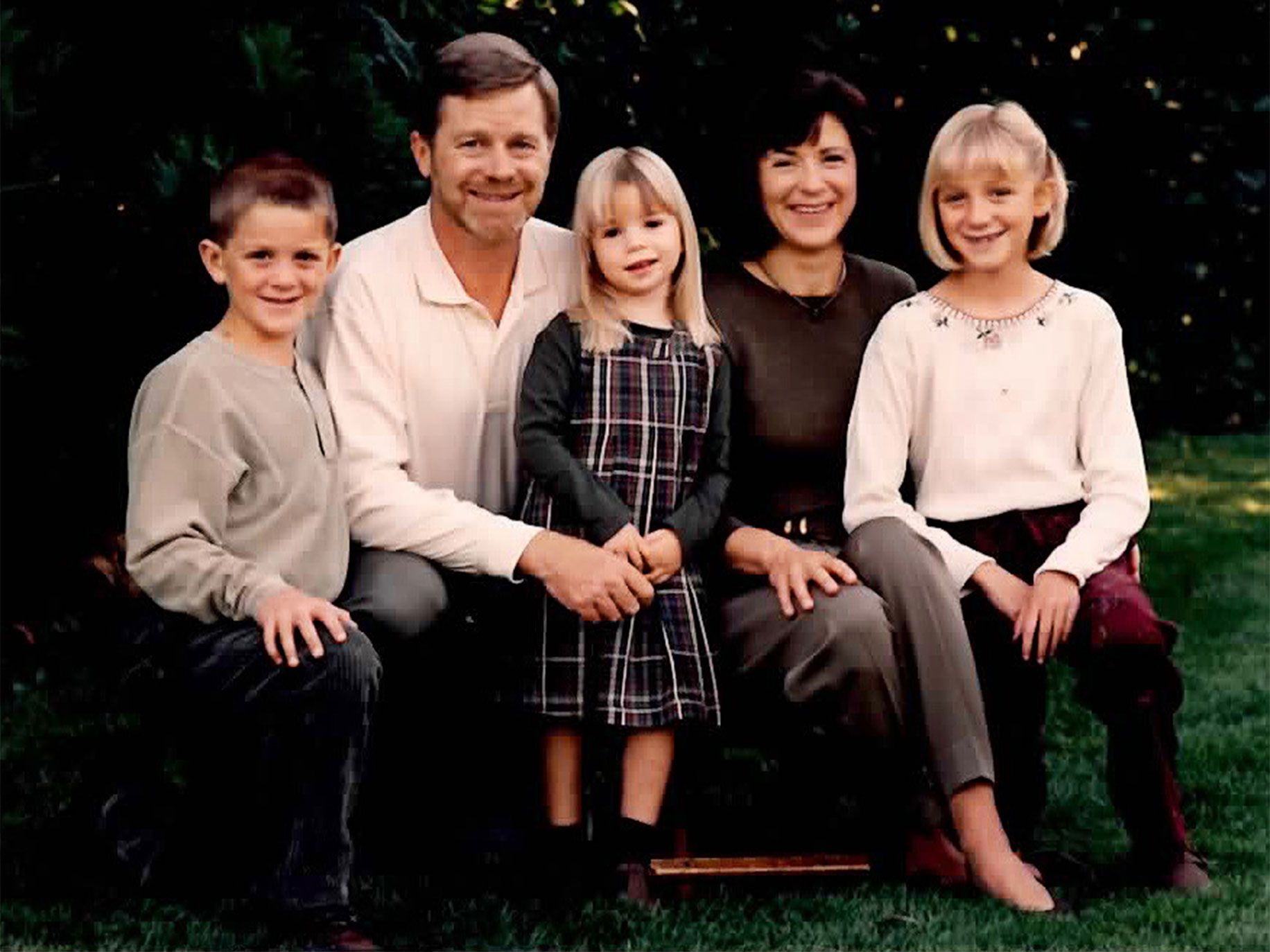MJ Elmore with her family, Christmas 1996. Elmore was the only IVP partner with a working spouse and three children.