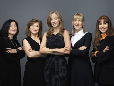 Author Julian Guthrie (center) with the Alpha Girls. From left: Theresia Gouw, Mary Jane Elmore, Sonja Hoel, and Magdalena Yesil