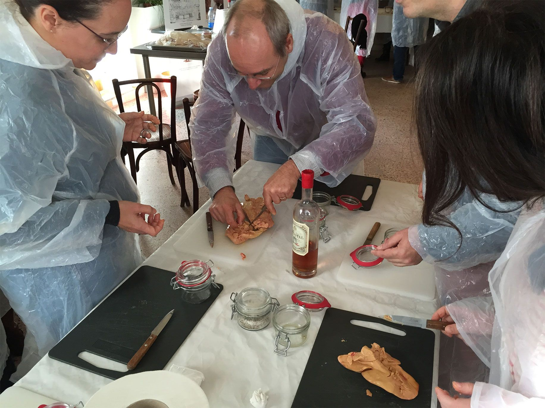 A workshop at the Villa Cahuzac hotel and restaurant in Gimont where attendees learn how to prepare duck liver to make foie gras.