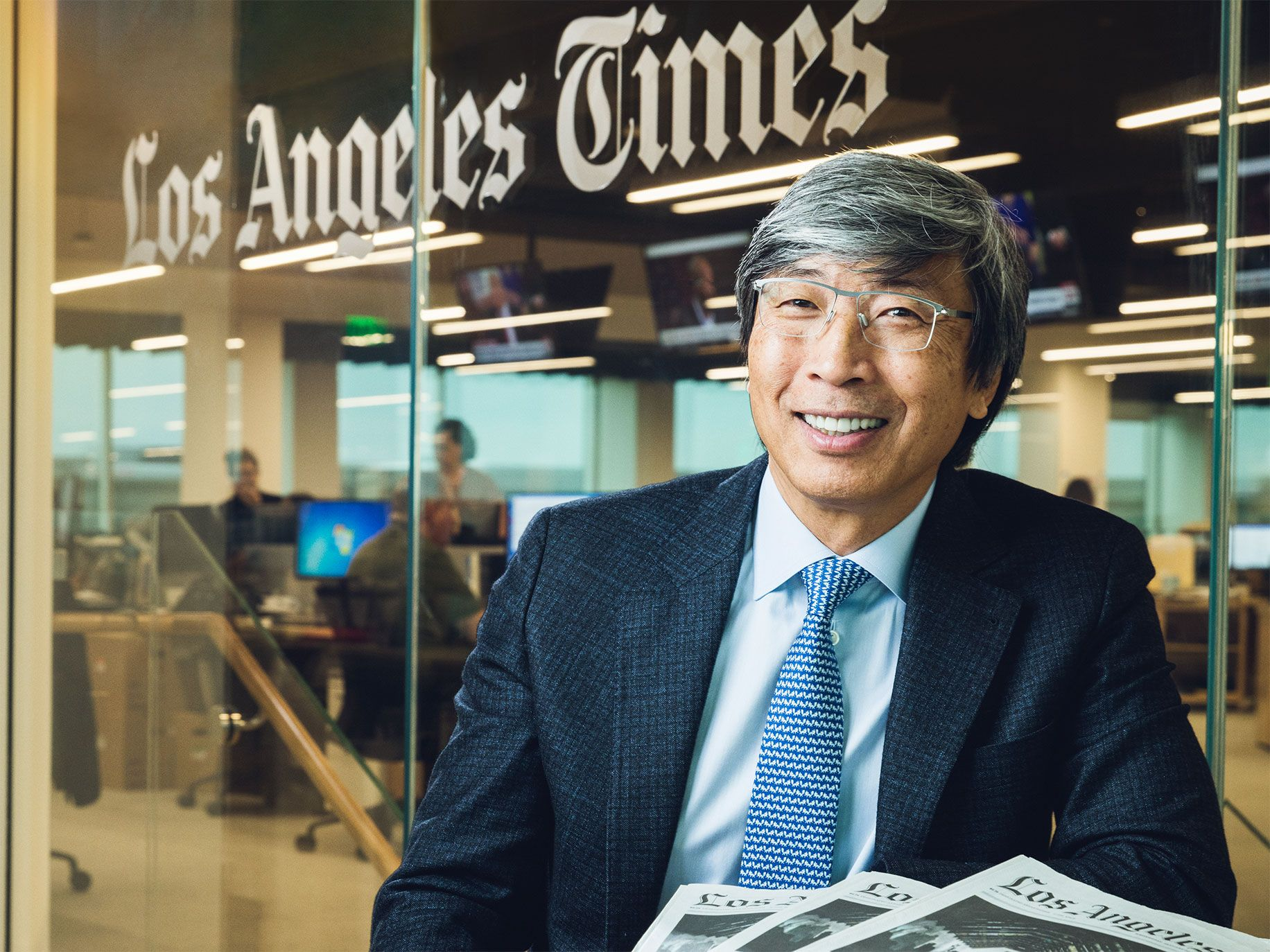 """Patrick Soon-Shiong bought the Los Angeles Times in a $500 million deal and is investing hundreds of millions of dollars to reverse the damage caused by years of neglect. He calls it his """"100-year project"""" and says that resurrecting the newspaper is vital for democracy."""