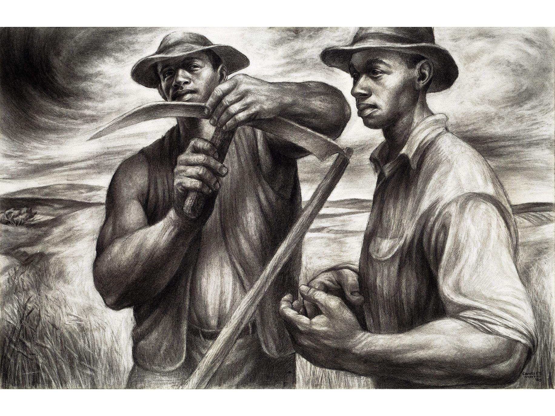 Harvest Talk (1953), by Charles White; charcoal, Wolff's carbon drawing pencil, and graphite, with stumping and erasing on ivory wood pulp laminate board. From the Art Institute of Chicago, restricted gift of Mr. and Mrs. Robert S. Hartman.