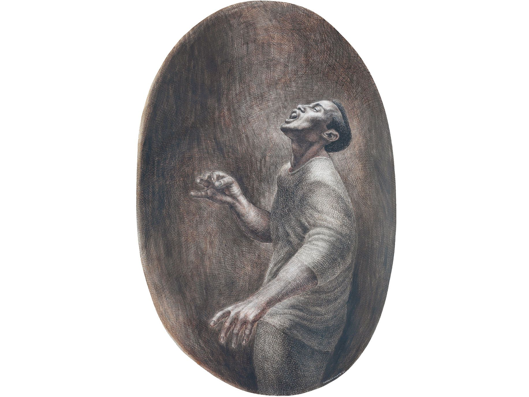 Folksinger (1957), by Charles White, ink on board. From the collection of Pamela and Harry Belafonte.