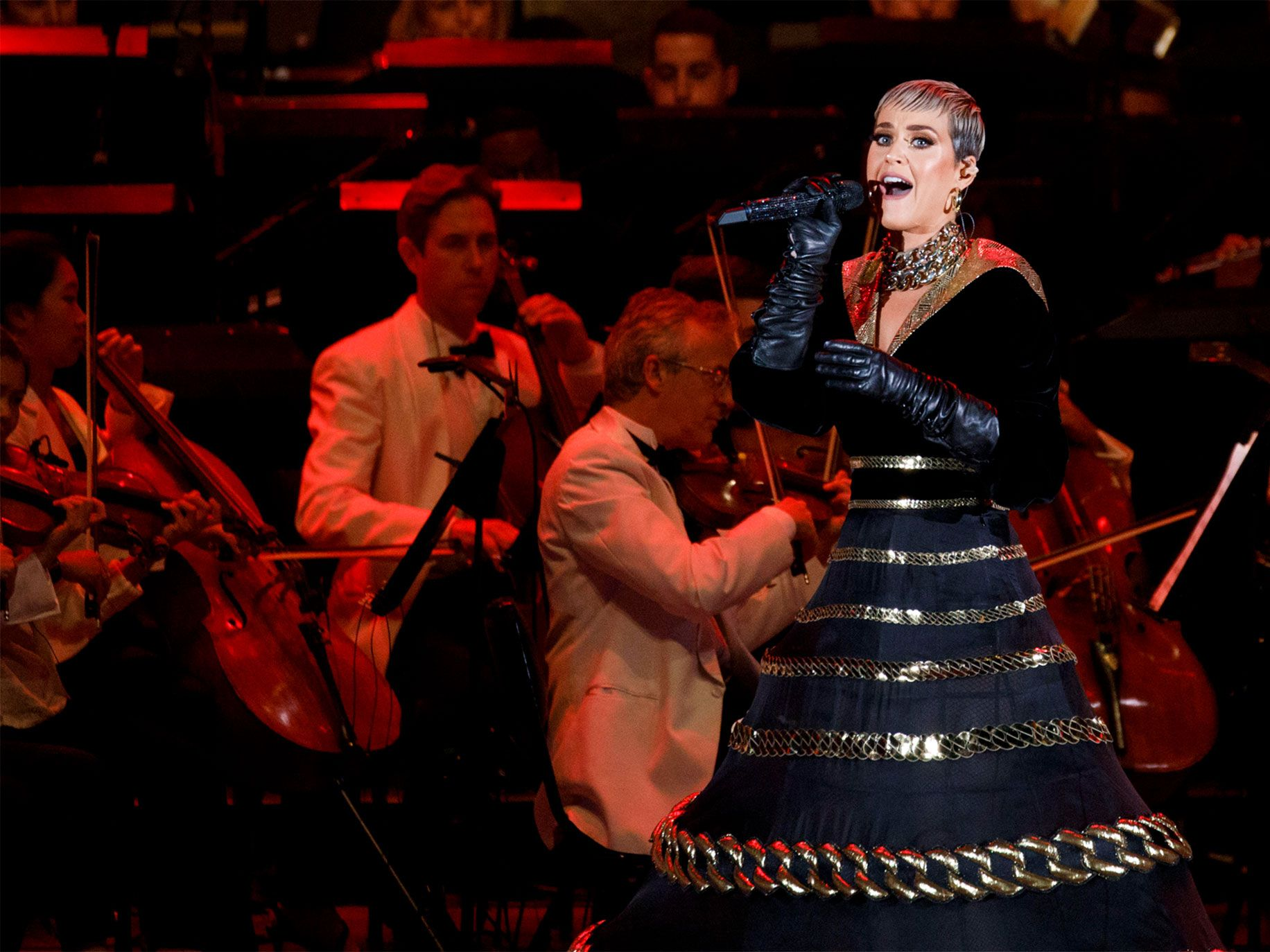 Singer Katy Perry was one of several pop stars who performed at the L.A. Philharmonic's ''Celebrate LA!'' concert at the Hollywood Bowl in Los Angeles.