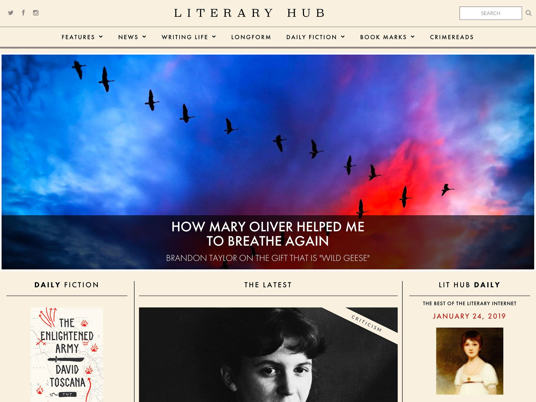The Literary Hub homepage