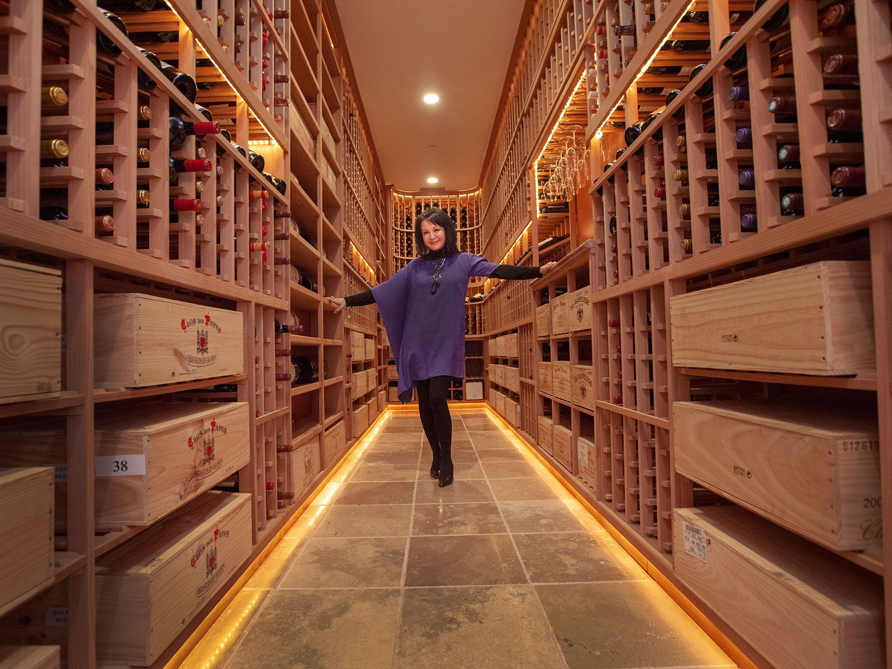 Helen Cheng strikes a pose in the Chengs estate's wine tasting room.