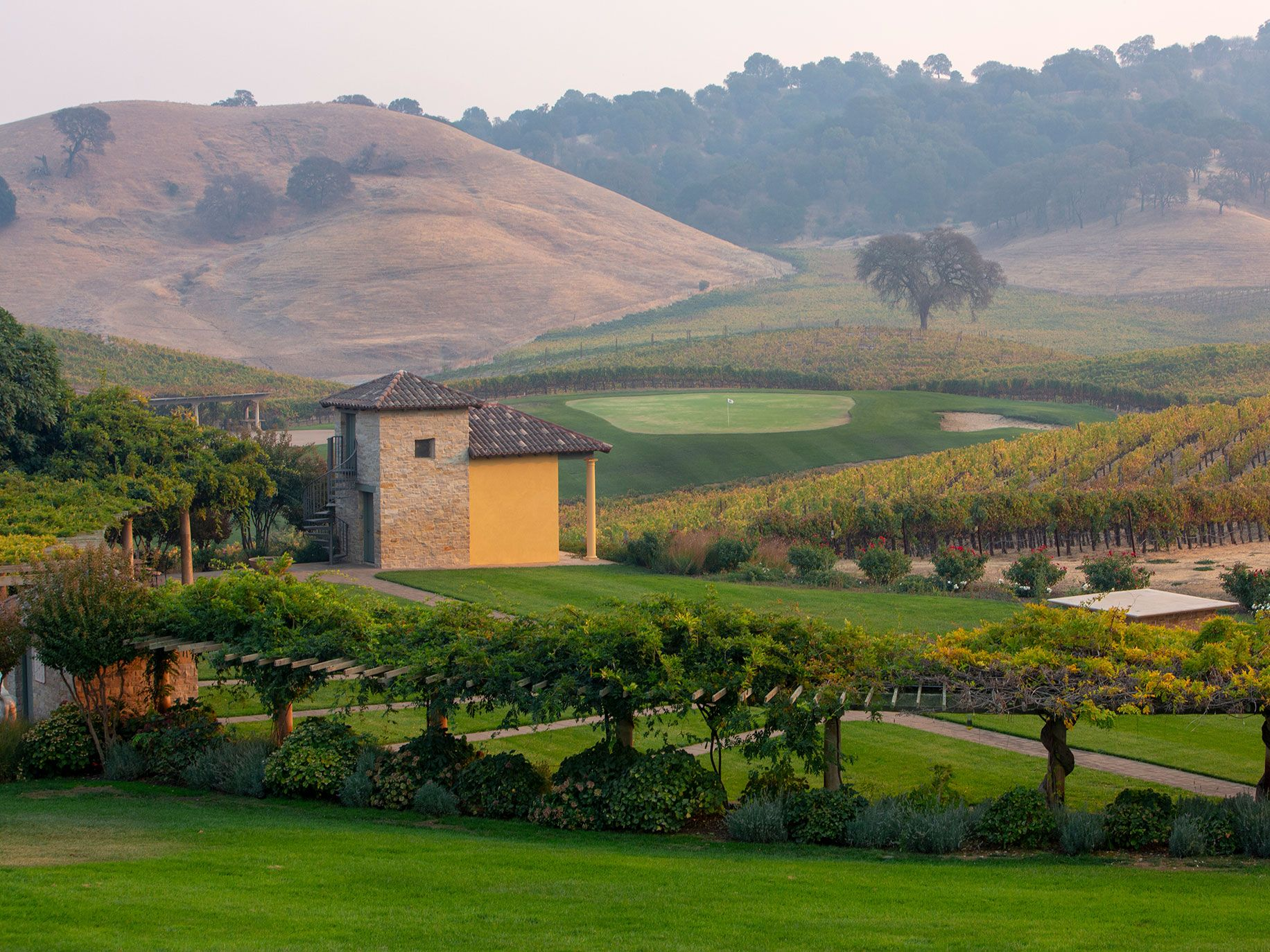The Cheng's Tuscan-inspired home is nestled in the rolling vineyard hills of Napa Valley.