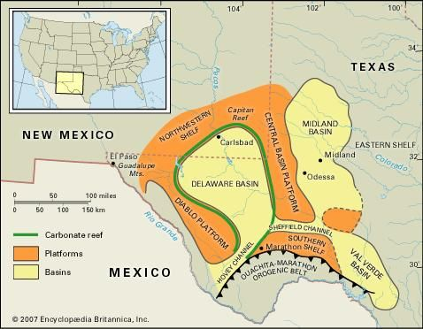 A map of the basins, reefs, and platforms that make up the Permian Basin in Texas.