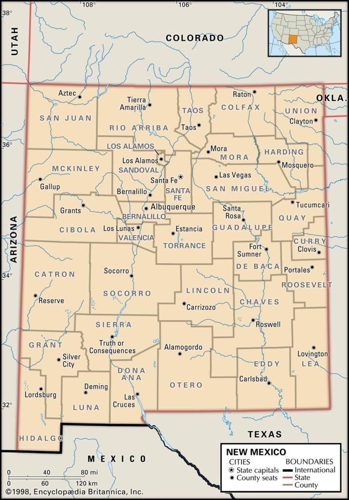 A map of the state of New Mexico, by county.