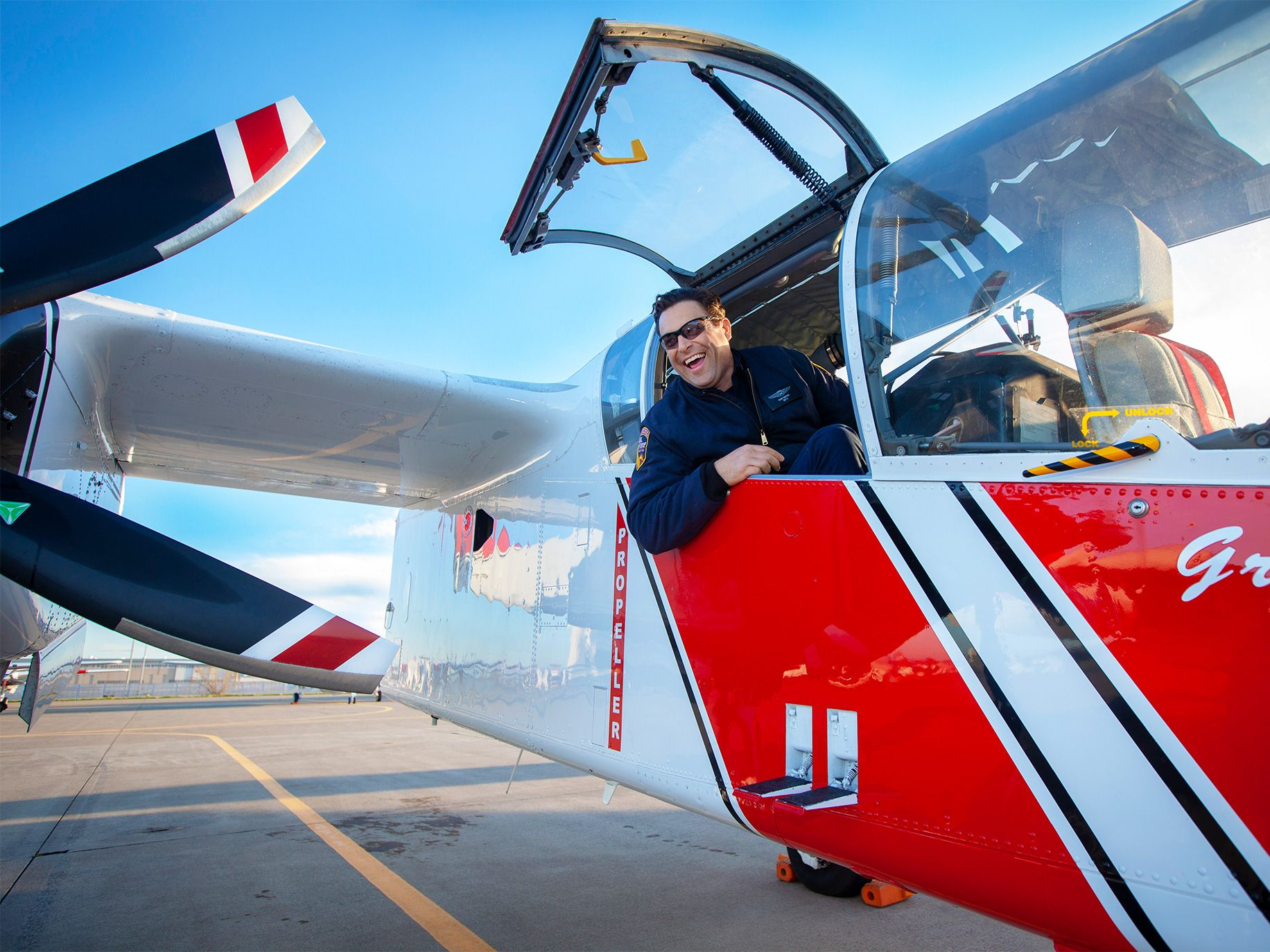 Cal Fire battalion chief Shem Hawkins in the back of a spotter plane at McClellan Airfield.