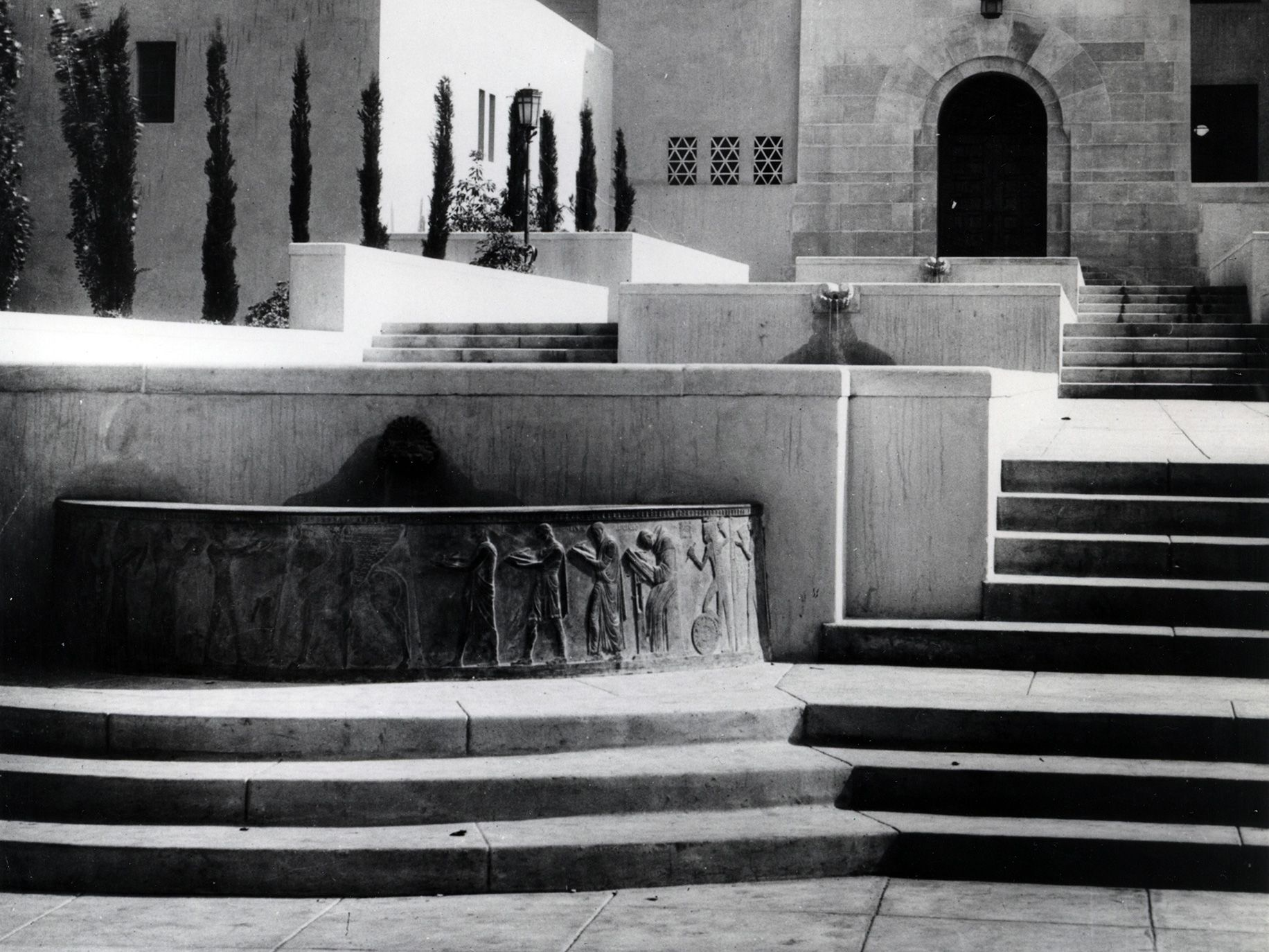 The Well of the Scribes before it was removed from the outside of the Los Angeles Public Library.