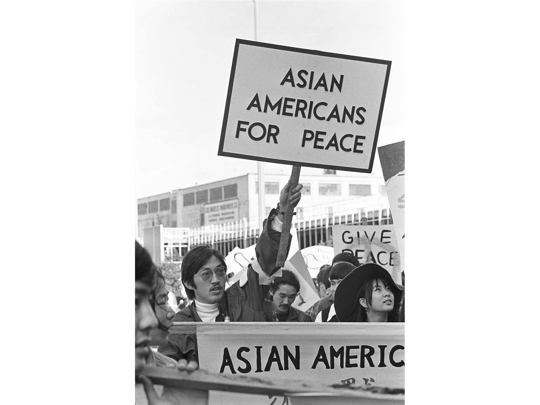 The group documented the first Asian American anti–Vietnam War march in Los Angeles's Little Tokyo neighborhood, organized by Asian Americans for Peace, May 11, 1972.