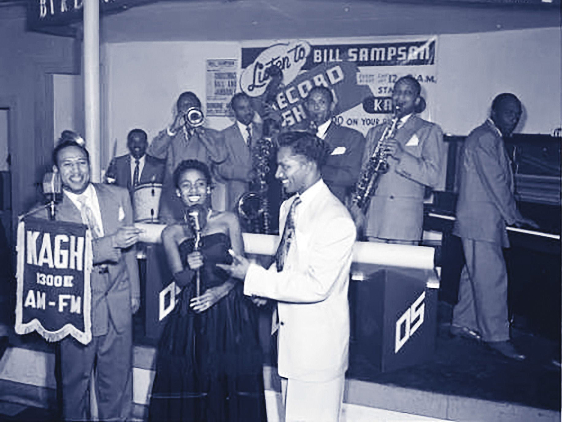 Jack's attracted greats like Buddy Collette, Duke Ellington, and Dexter Gordon. Radio host Bill Sampson (standing at left microphone) and his band often played at Jack's for KAGH.