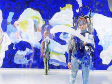 Bolivian American artist Donna Huanca often utilizes models to move through an installation. A view from her show Cell Echo at Yuz Museum in Shanghai, 2018.
