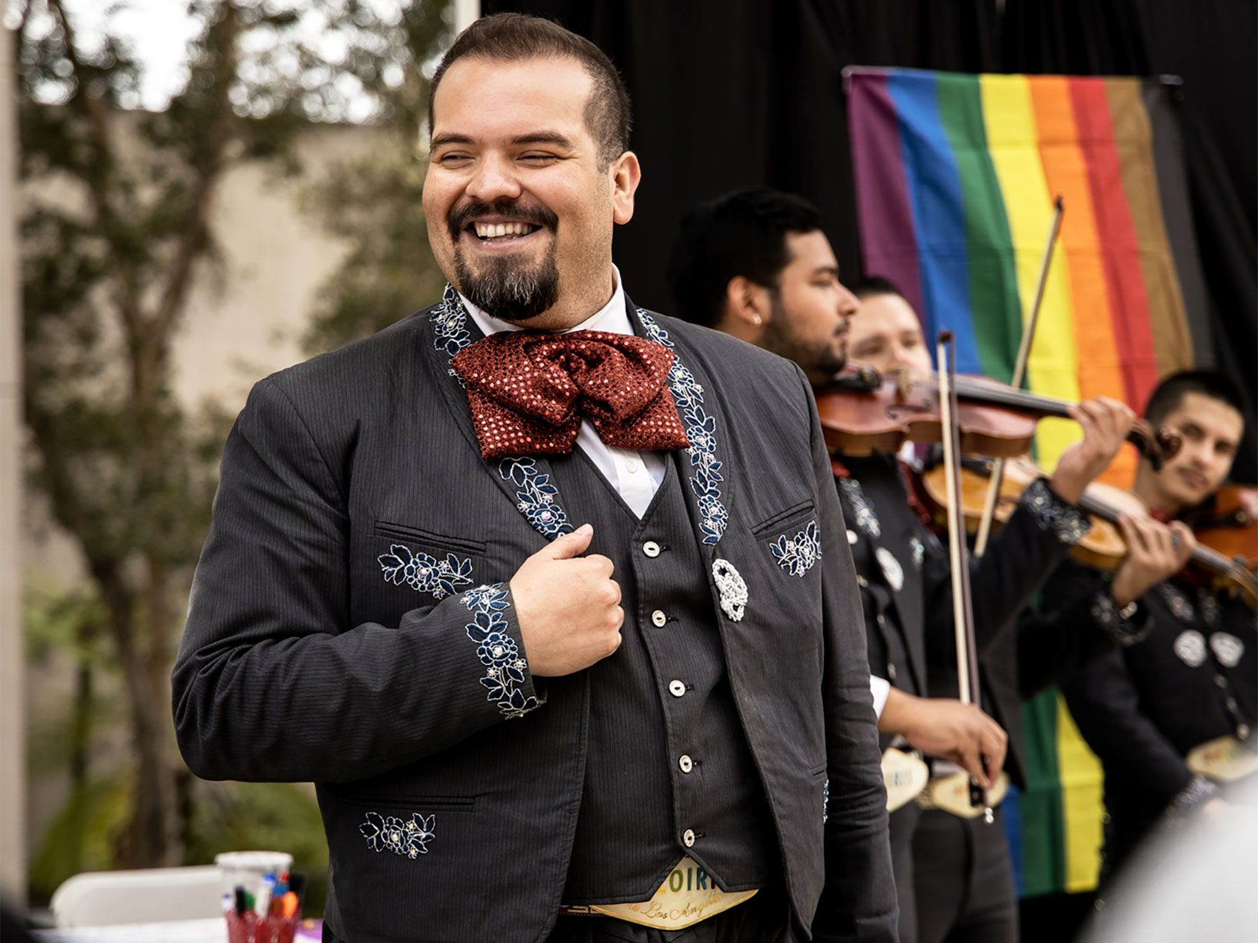 Trumpeter Rudy Vasquez learned of Mariachi Arcoiris from a Facebook ad.