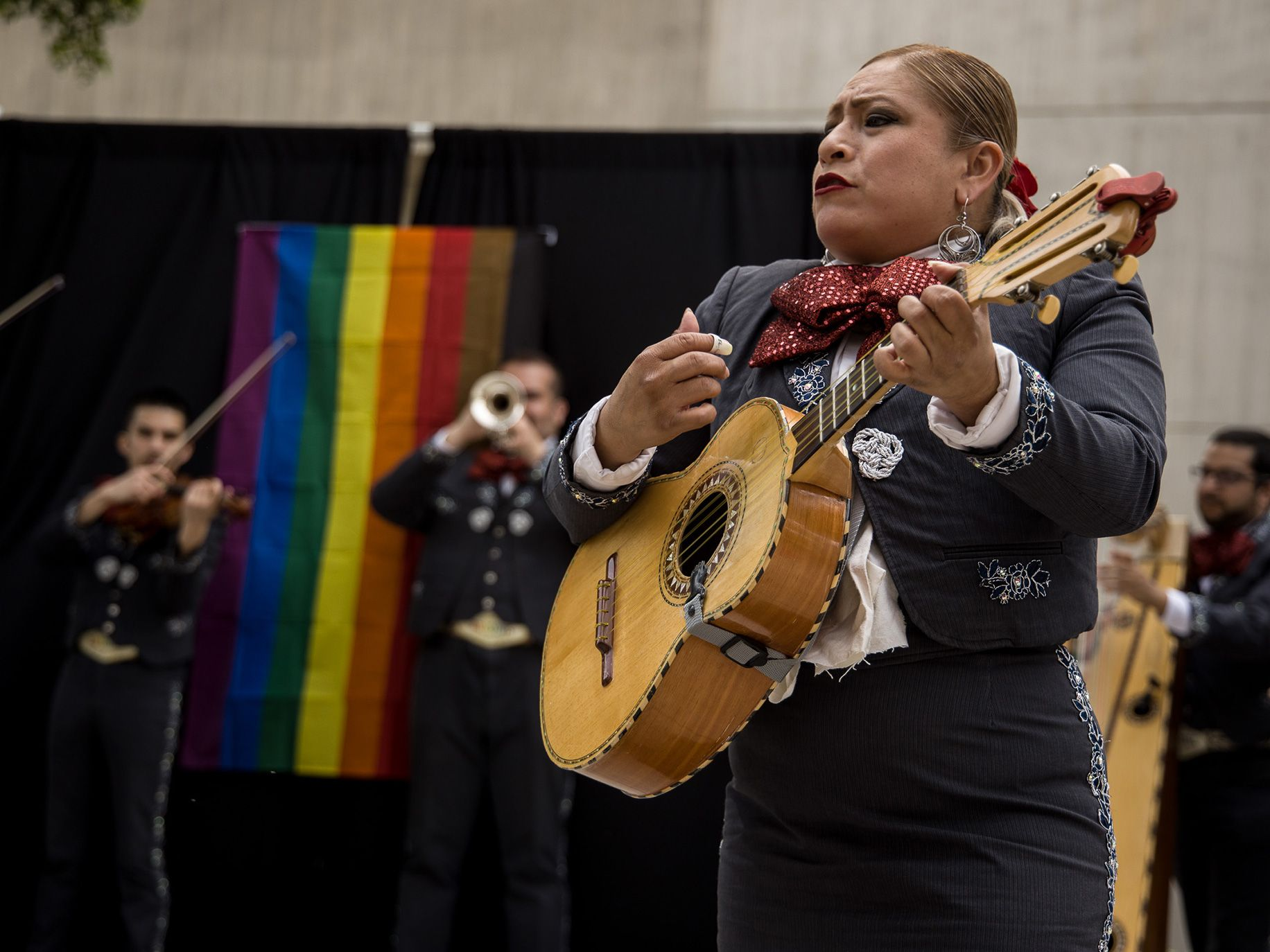 Maura Martinez performs with Mariachi Arcoiris, the first LGBTQ+ mariachi band.