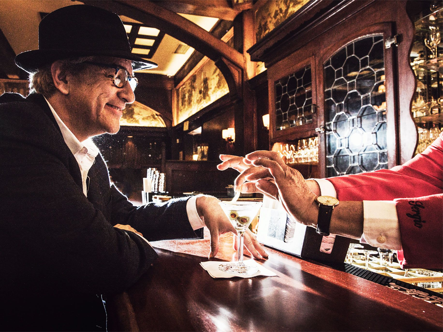 The bar at Musso & Frank Grill is the kind of place where a fast-talking, hardworking gumshoe or Anniversarist might grab a martini and get a hot tip.