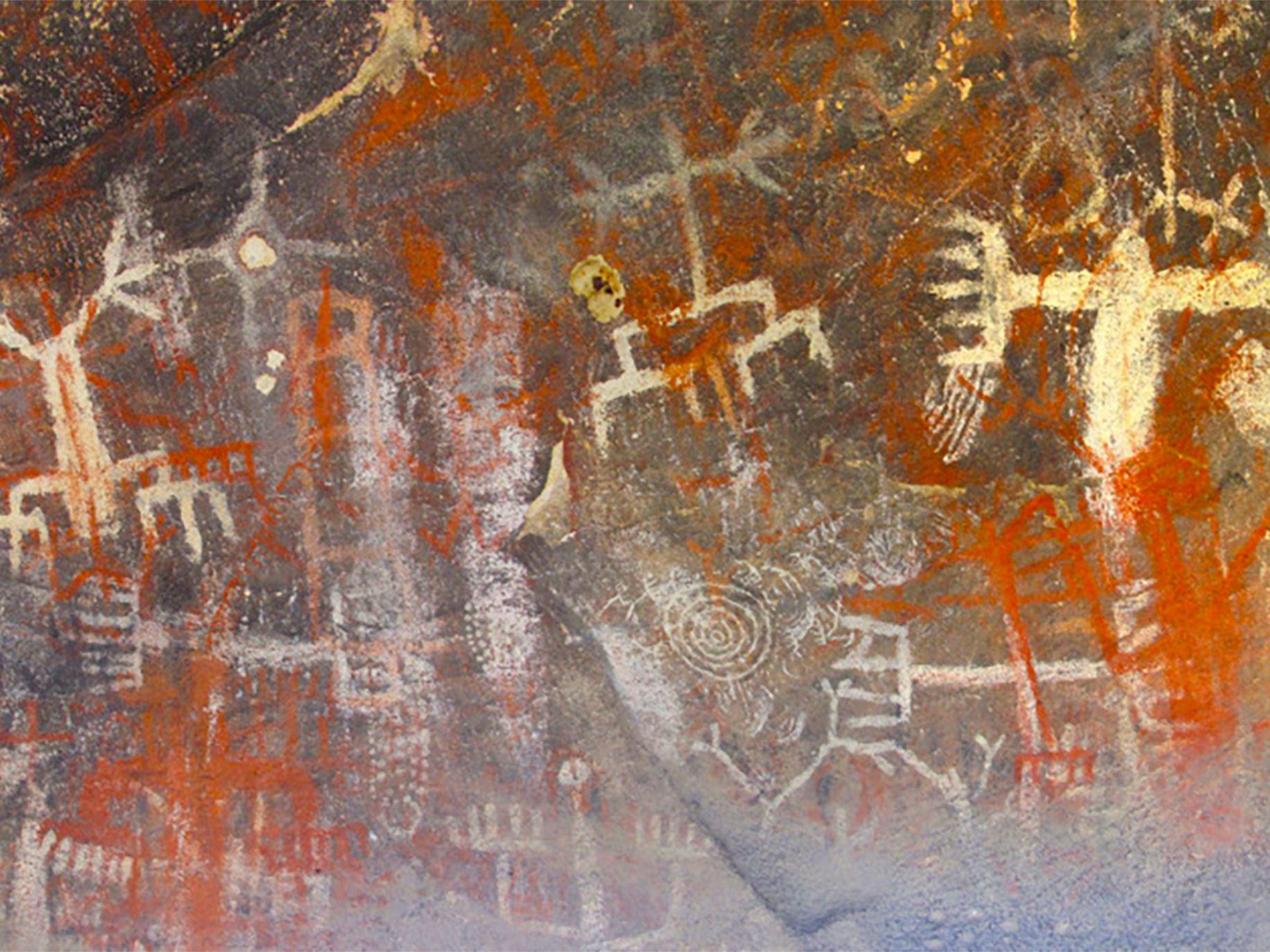 Chumash Native American pictographs at Burro Flats.