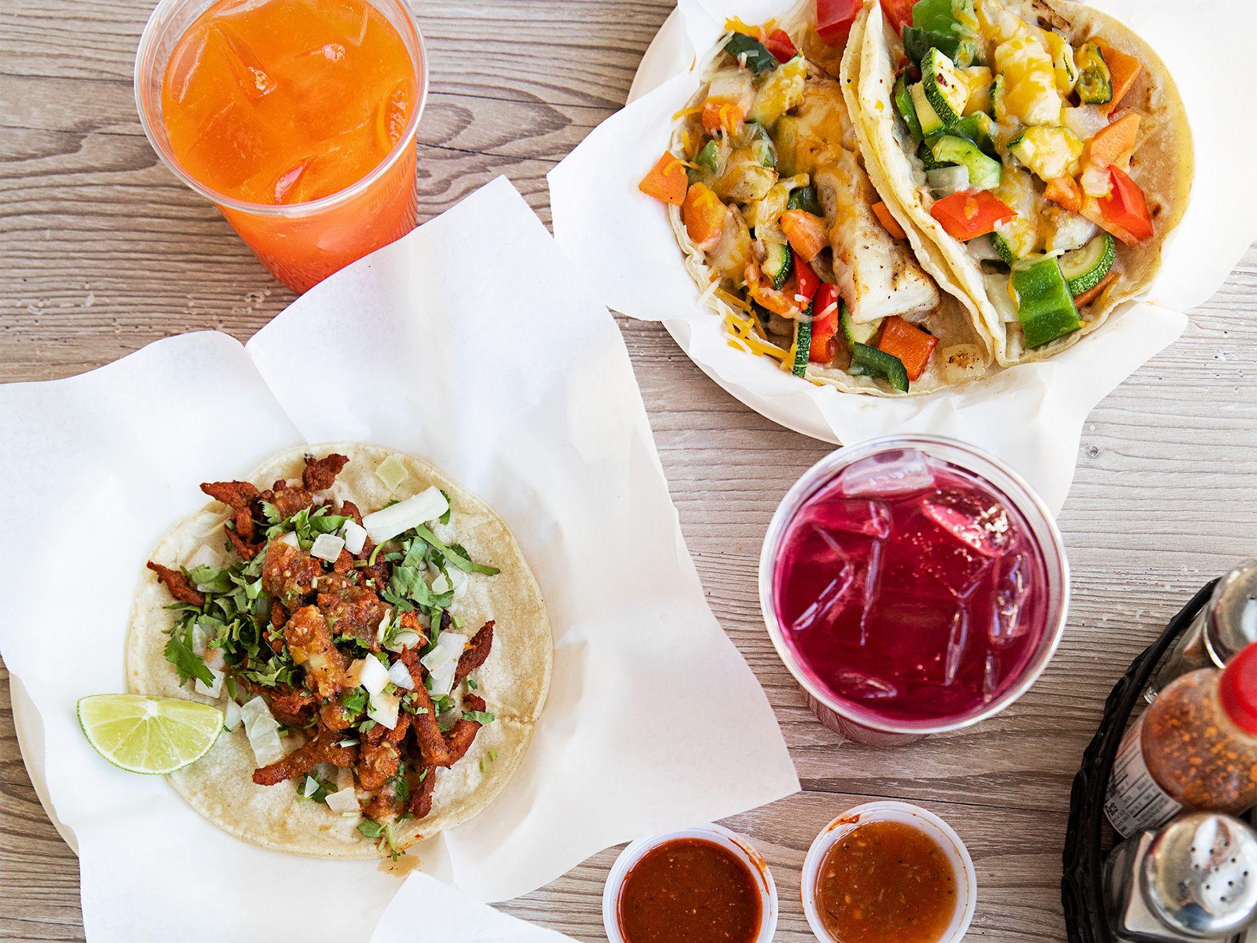 Tasty tacos from El Bajio, top to bottom: fish and al pastor.