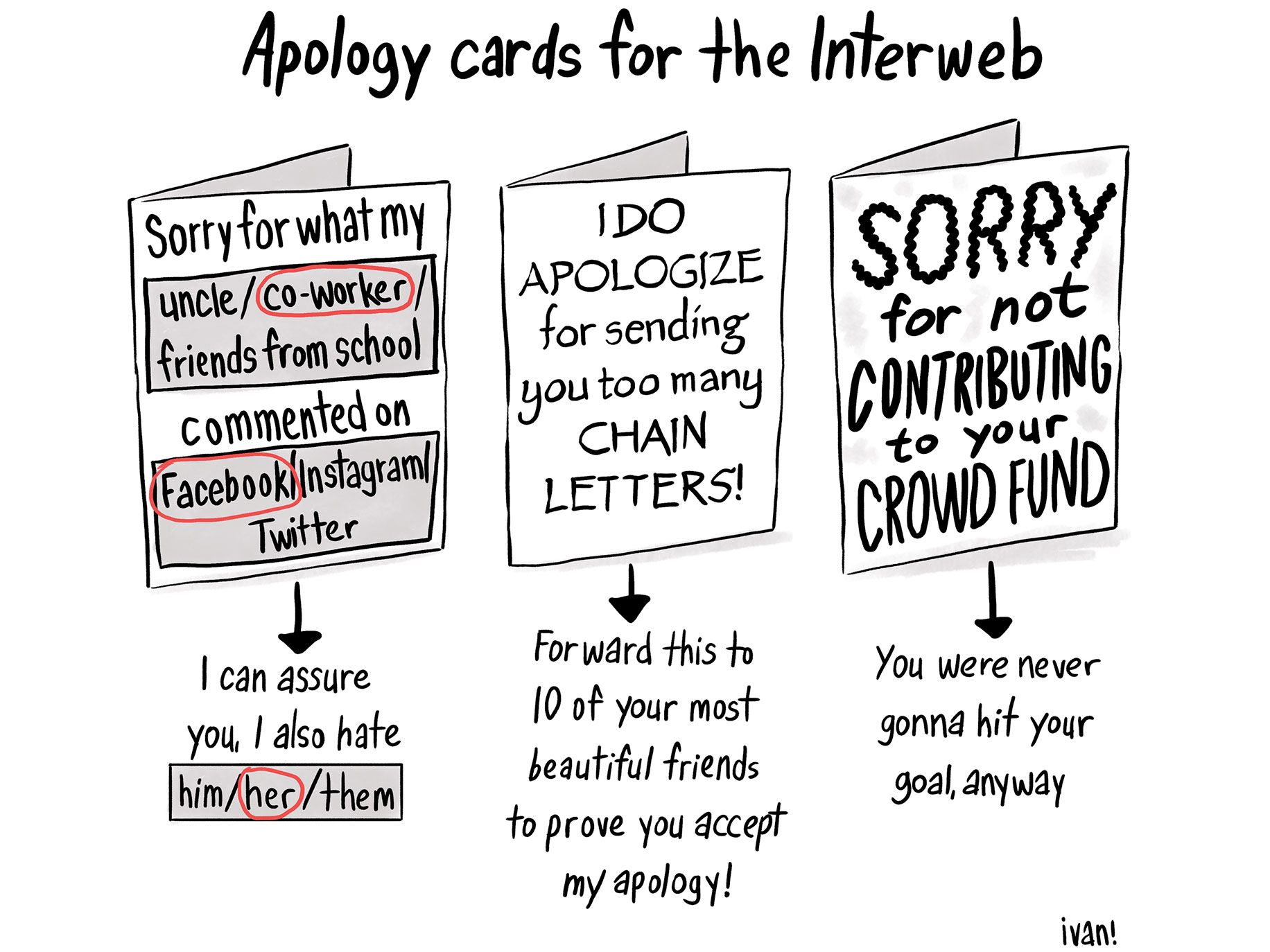 Apology cards for the interweb