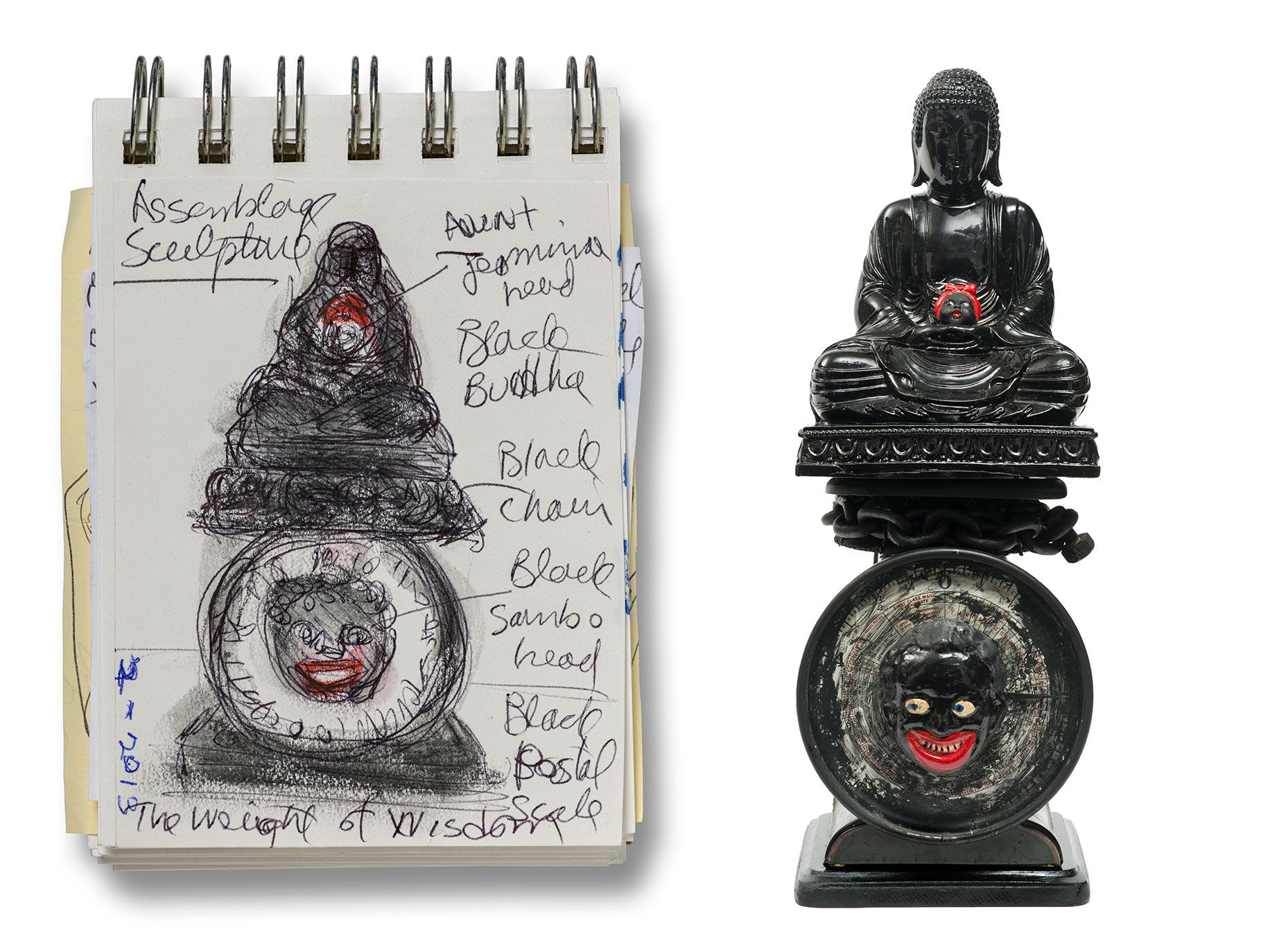 Left: The piece takes shape in Sketchbook 1998; LACMA displays many of Saar's sketchbooks alongside the finished works. Right: 2014's The Weight of Buddha.
