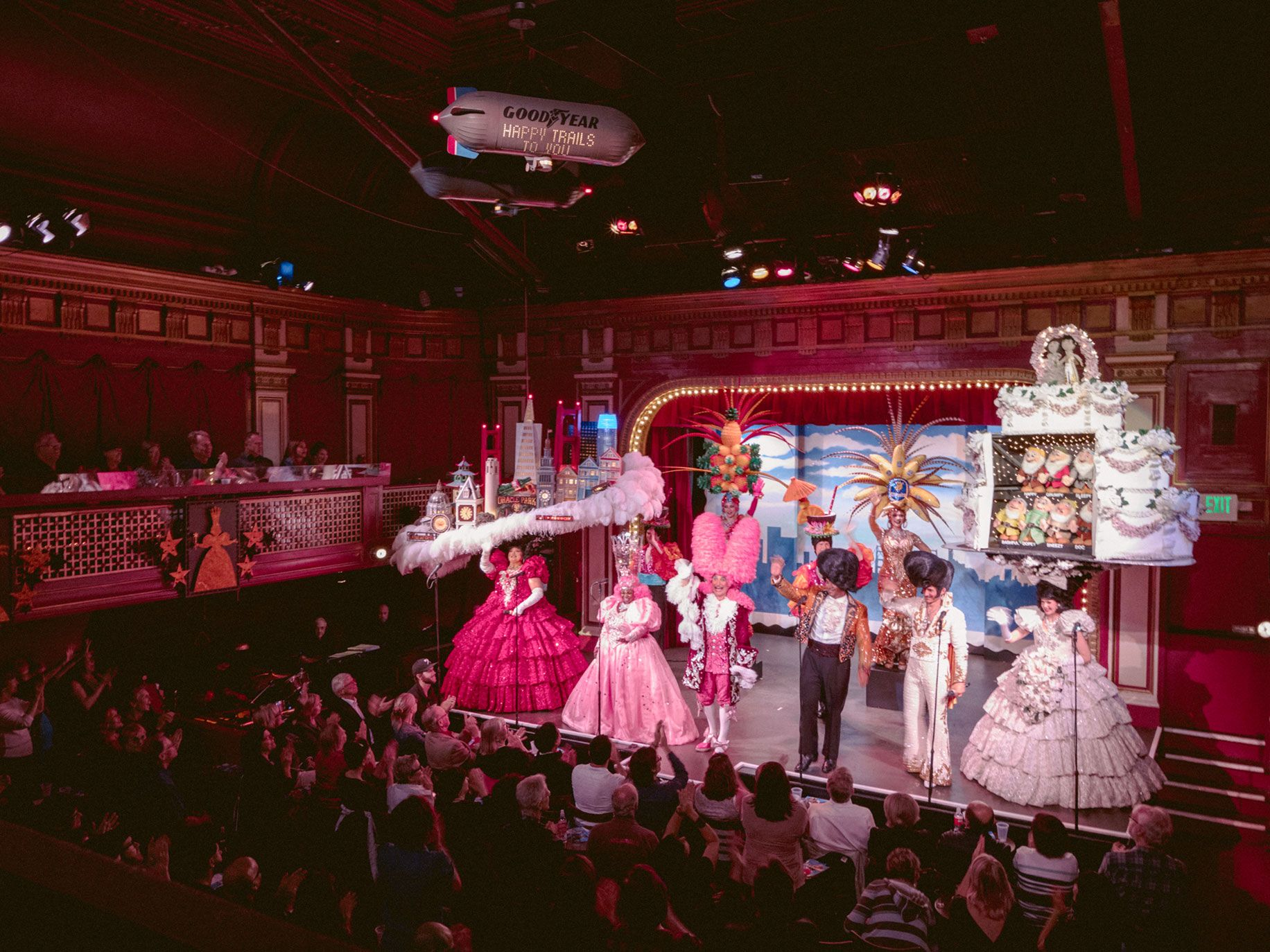"""Beach Blanket Babylon finishes each performance with the cast onstage singing the Judy Garland hit """"San Francisco."""""""