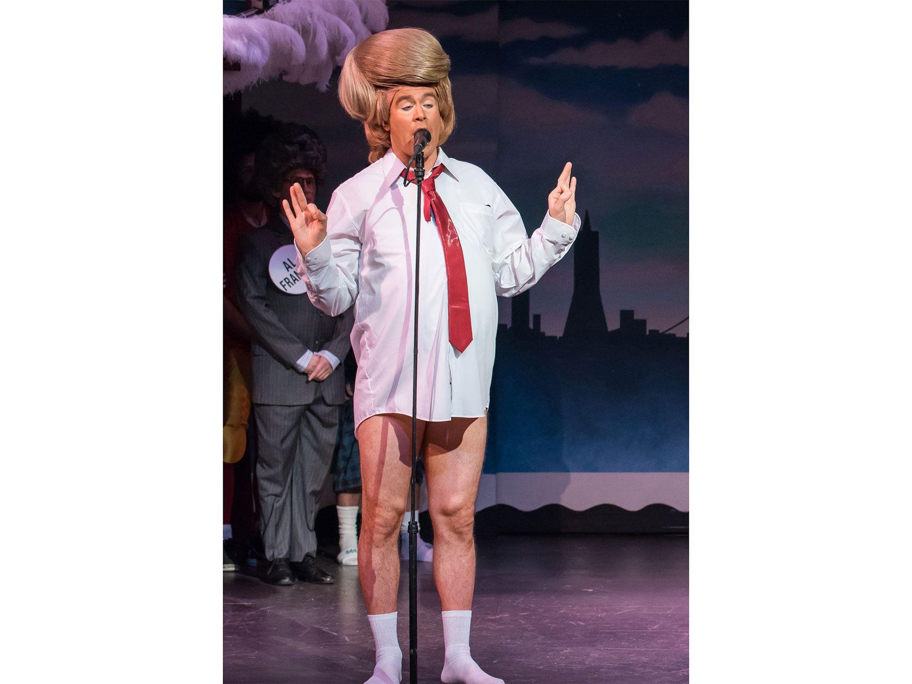 Derek Lux appears as President Donald Trump.