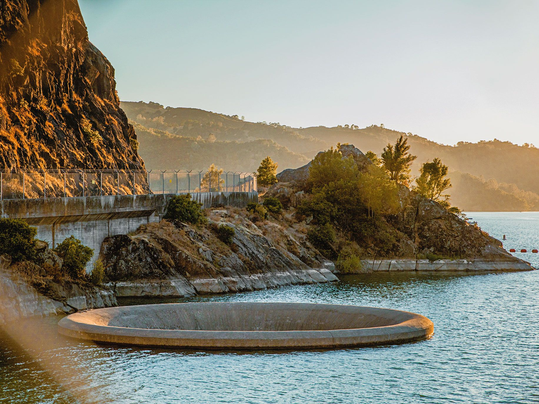 """Instead of a floodgate, the Monticello Dam releases water through a 72-foot-wide """"Glory Hole."""""""