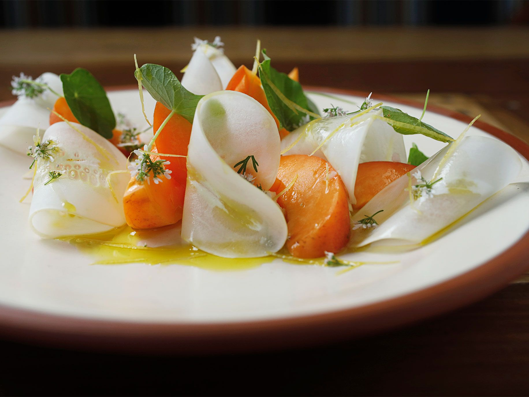 Apricot salad with laychee (Boontling for milk and a fresh cheese), nasturtium, and cilantro.