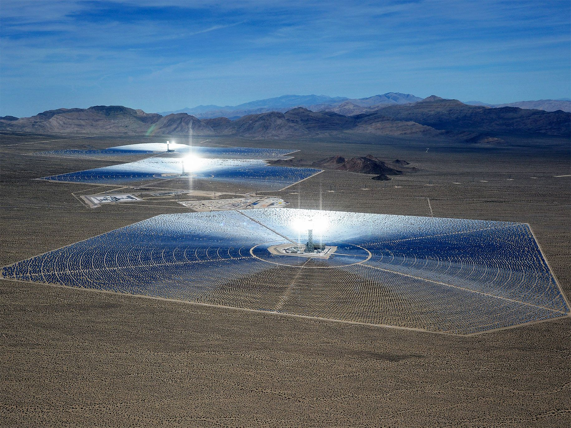 The Ivanpah Solar Electric Generating System is the largest solar thermal power-tower system in the world. Its 347,000 mirrors turn sunlight into electricity for more than 140,000 homes.