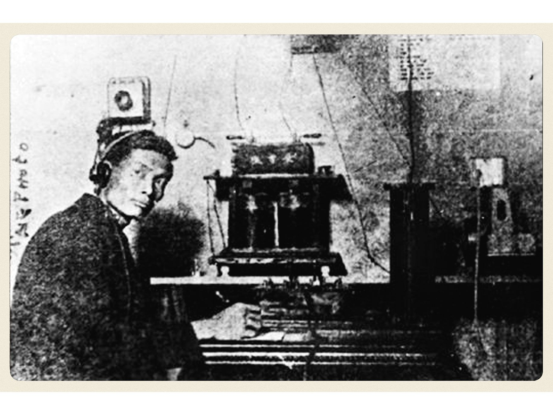 Feng in his Oakland, California, workshop with his self-devised telegraph system.