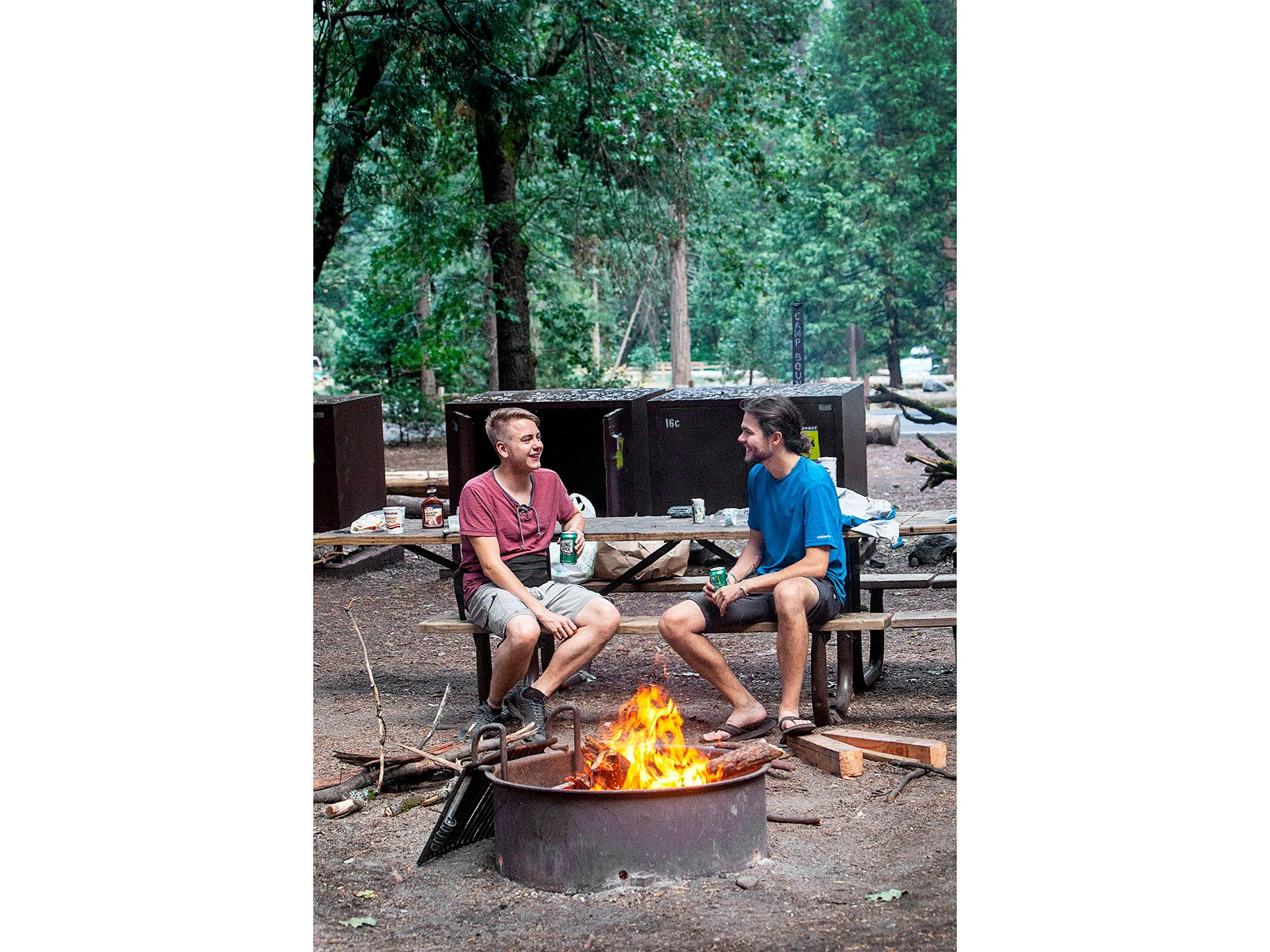 Carl Sigwart (left) and Martin Wildauer, visiting from Austria, relax at Camp 4 in July 2019.