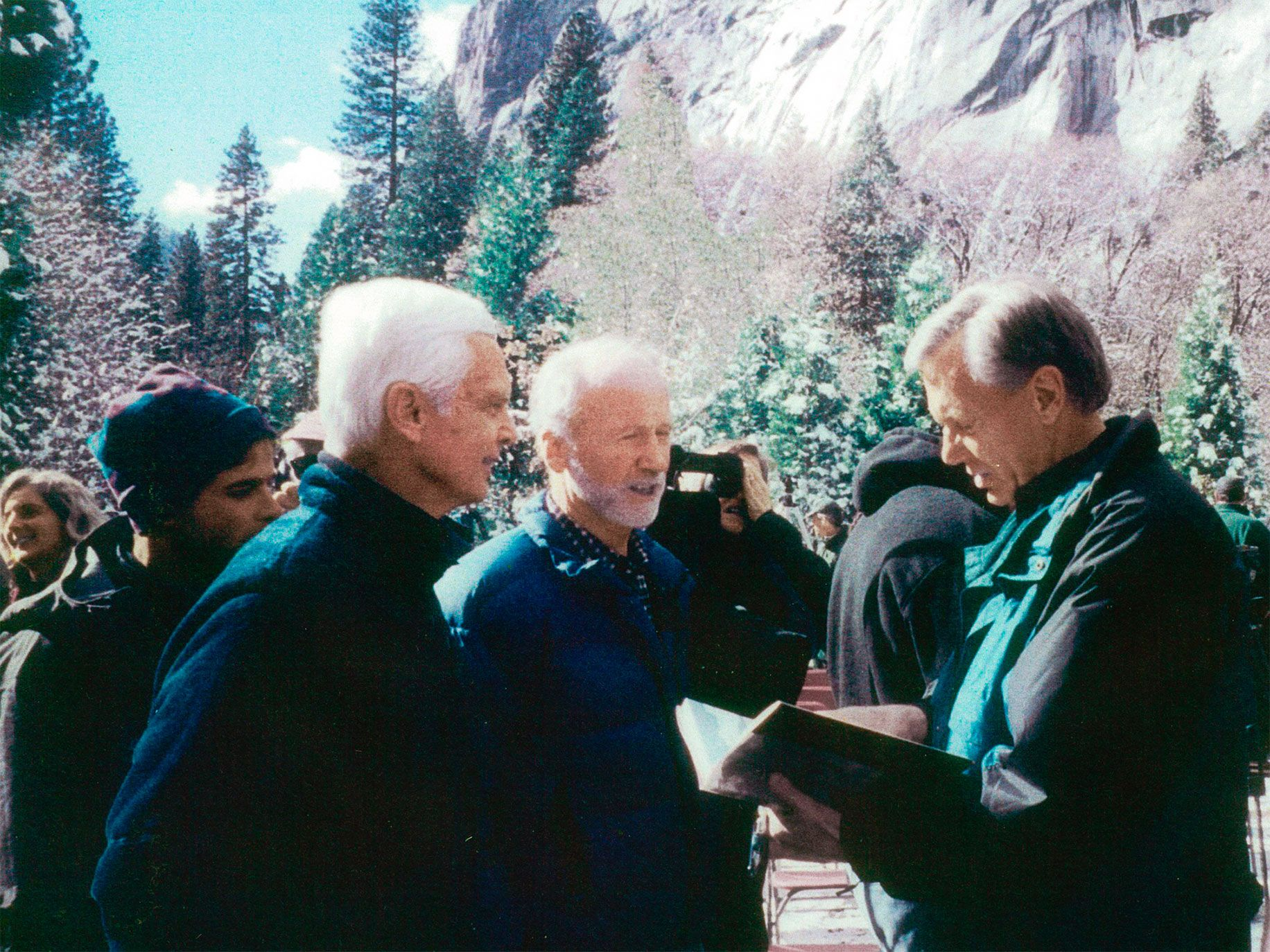 Climber Tom Frost (left) and attorney Richard Duane (center) with Secretary of the Interior Bruce Babbitt at a ceremony placing Camp 4 on the National Register of Historic Places on February 21, 2003.