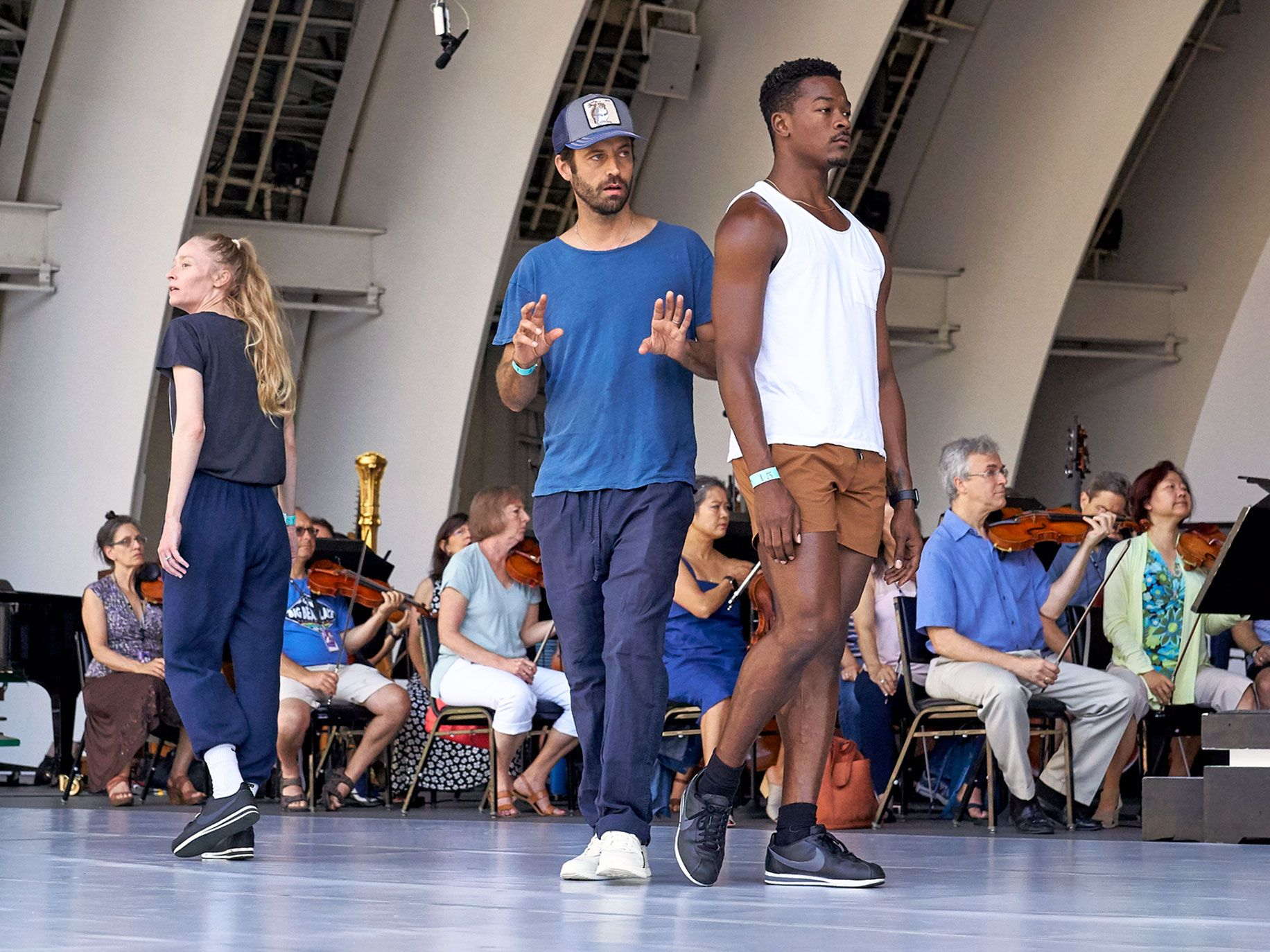 L.A. Dance Project artistic director Benjamin Millepied (center) works with the company's dancers at a rehearsal of Romeo and Juliet at the Hollywood Bowl.