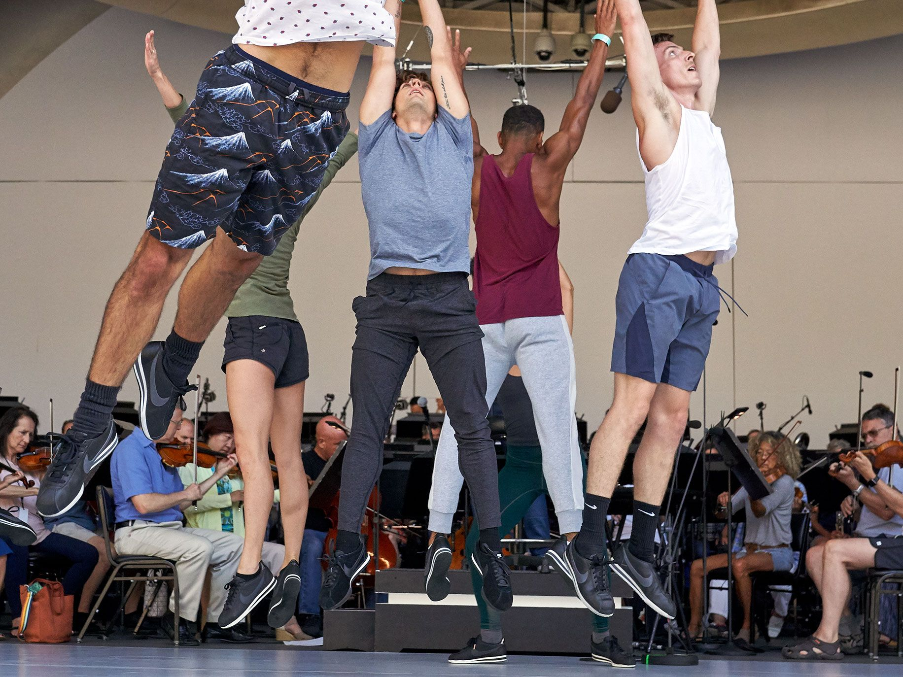 Dancers of L.A. Dance Project rehearse Romeo and Juliet at the Hollywood Bowl backed by musicians from L.A. Phil.