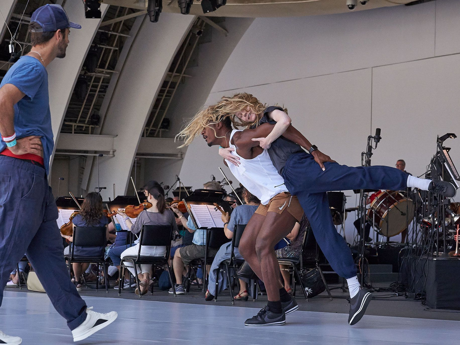 L.A. Dance Project artistic director Benjamin Millepied works with the company's dancers at a rehearsal of Romeo and Juliet at the Hollywood Bowl.