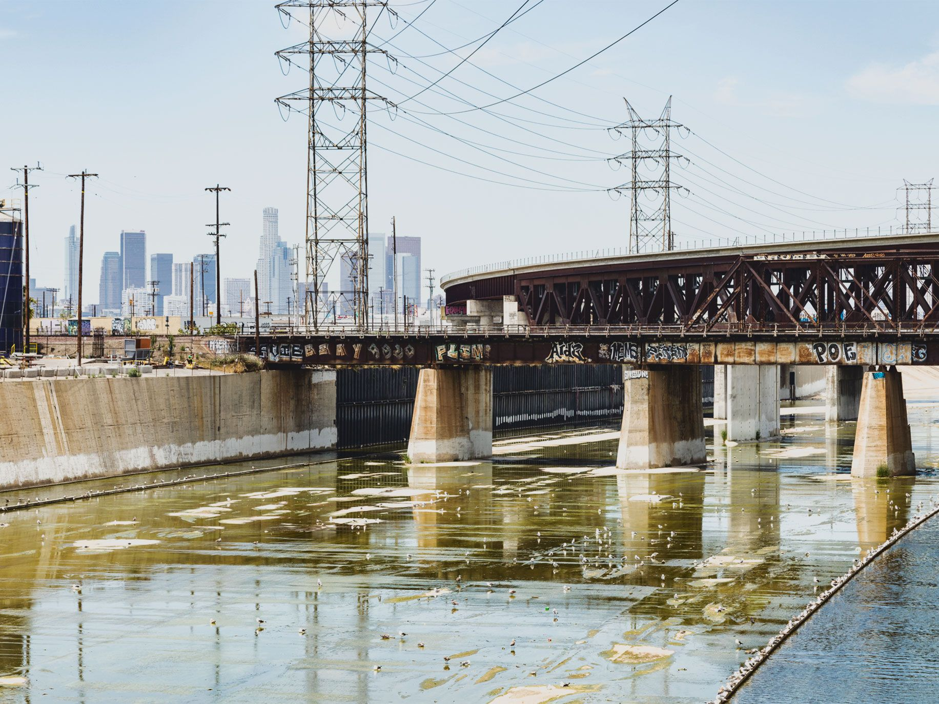 The Los Angeles River runs through an industrial area in Vernon, just south of downtown L.A.