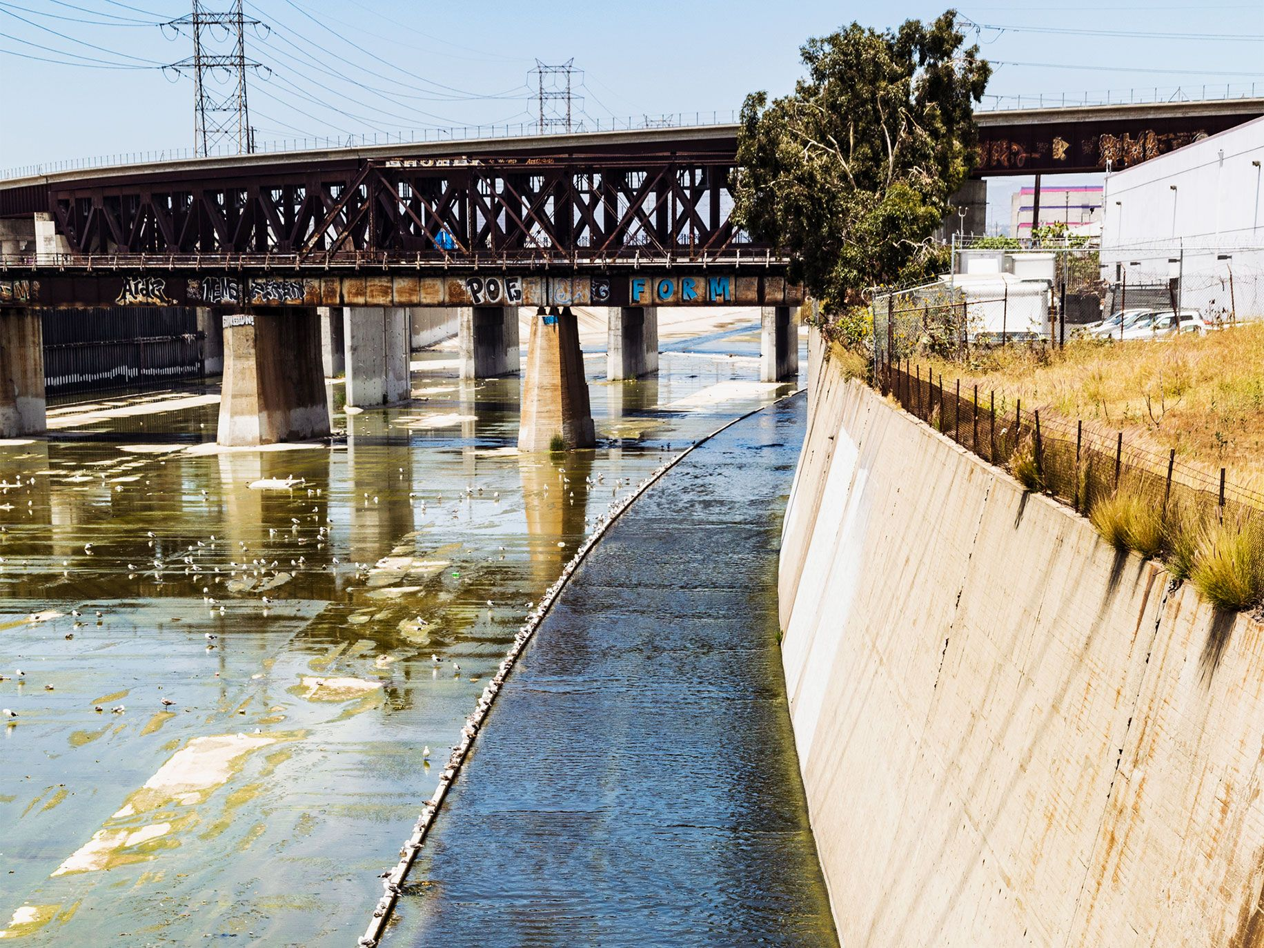 The Los Angeles River running through Vernon, located south of downtown.