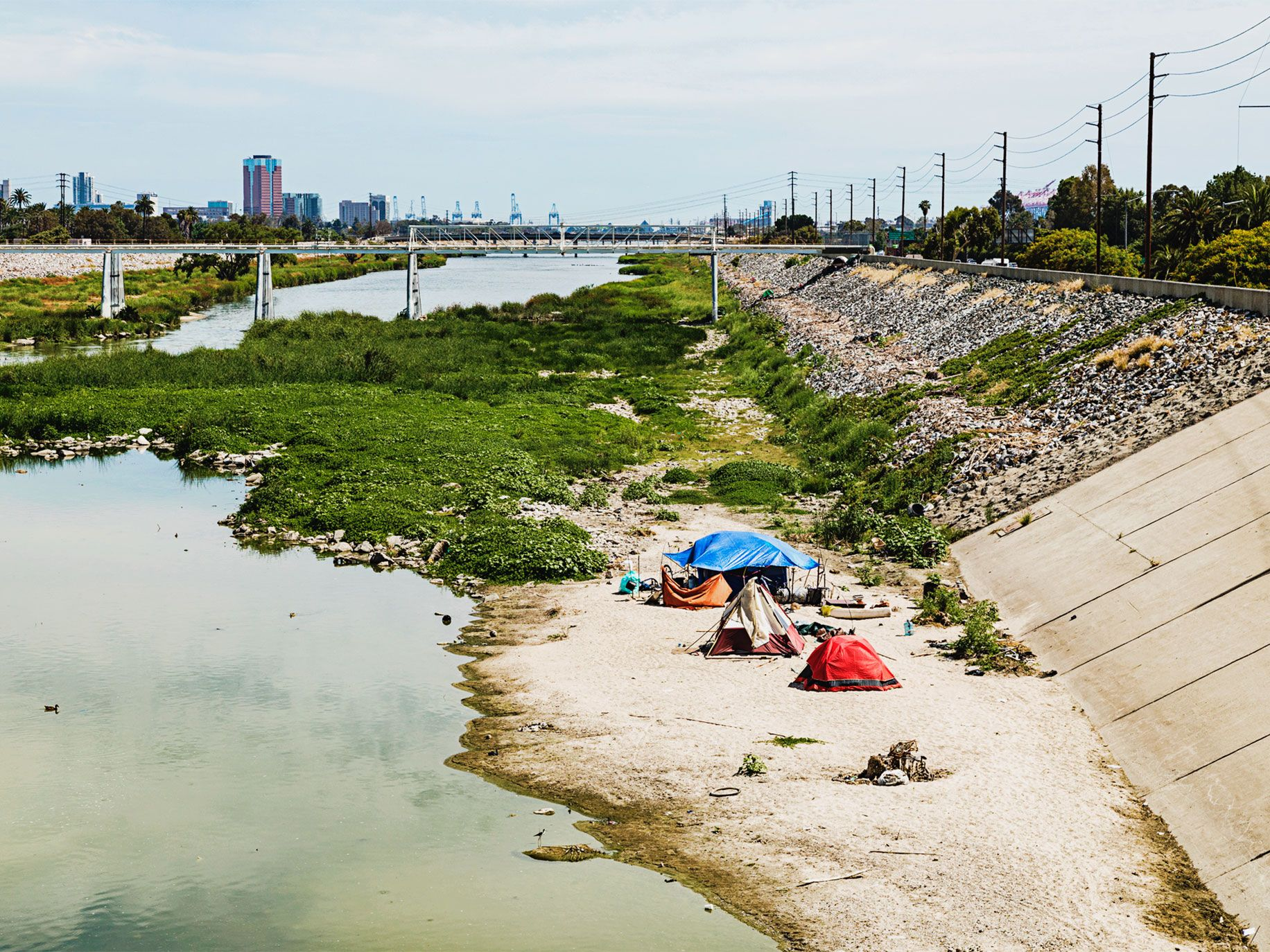 Homeless camp in the Long Beach section of the Los Angeles River.