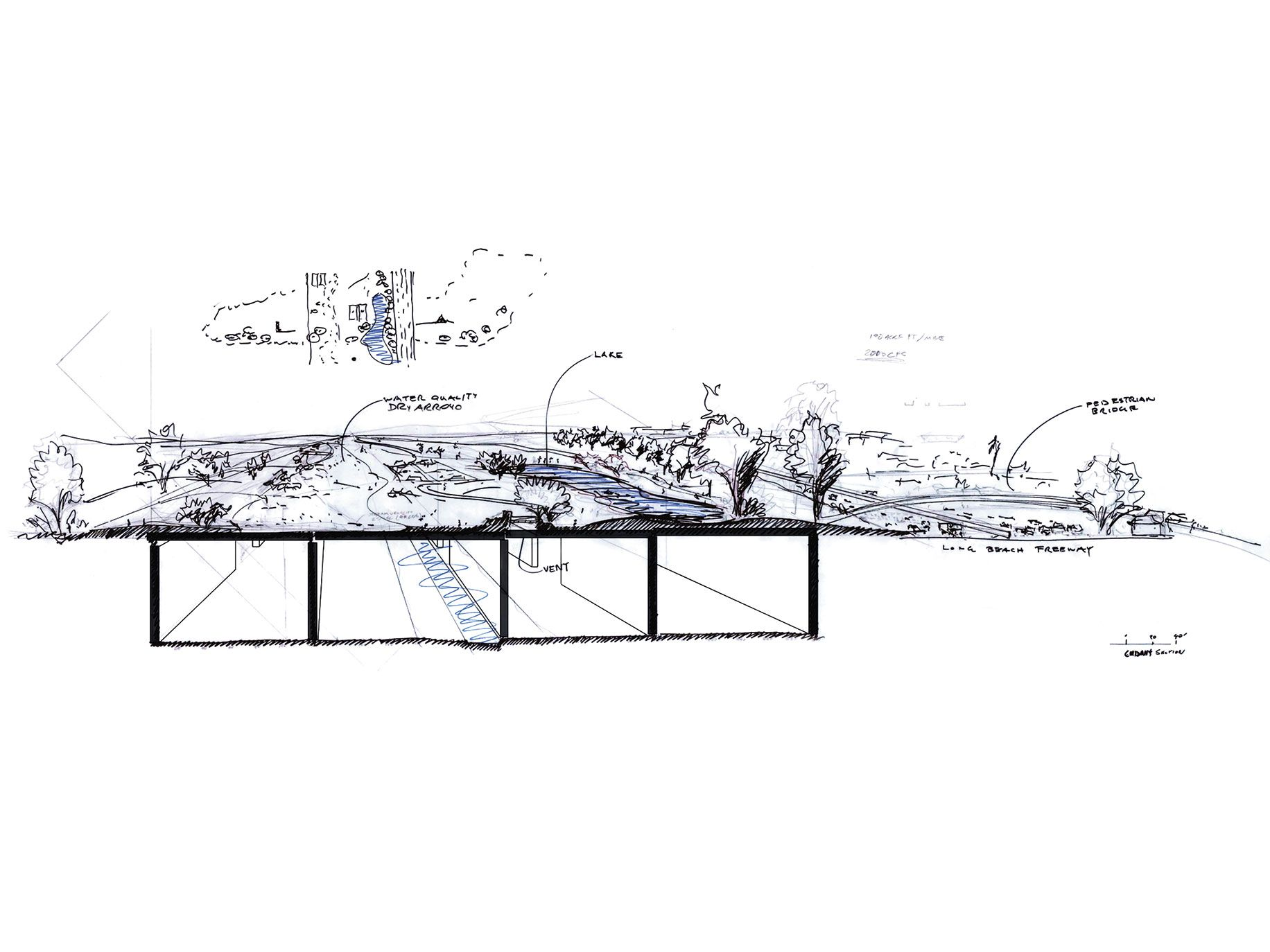 A sketch of Gehry's platforming concept for a three-mile stretch of the L.A. River, which would create acres of parkland above the existing riverbed.