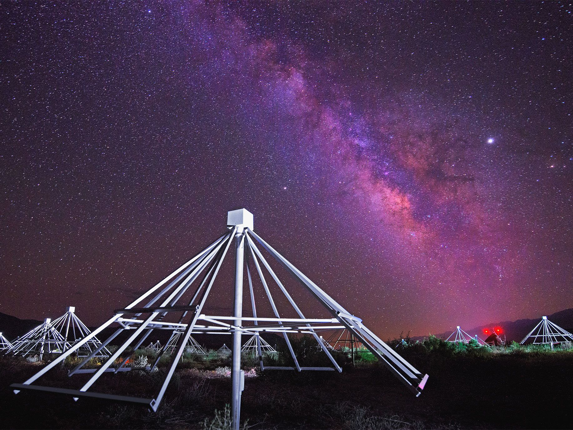 Hundreds of inexpensively made antennae tuned into the cosmos look for radio waves from potentially habitable planets at Caltech's Owens Valley Radio Observatory near Big Pine, California.