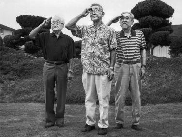Junzo Jake Ohara, 84, Takeshi Motoyasu, 84, and Eddie Tetsuji Kato, 86, outside Kato's Monterey Park, California, home in 2013.