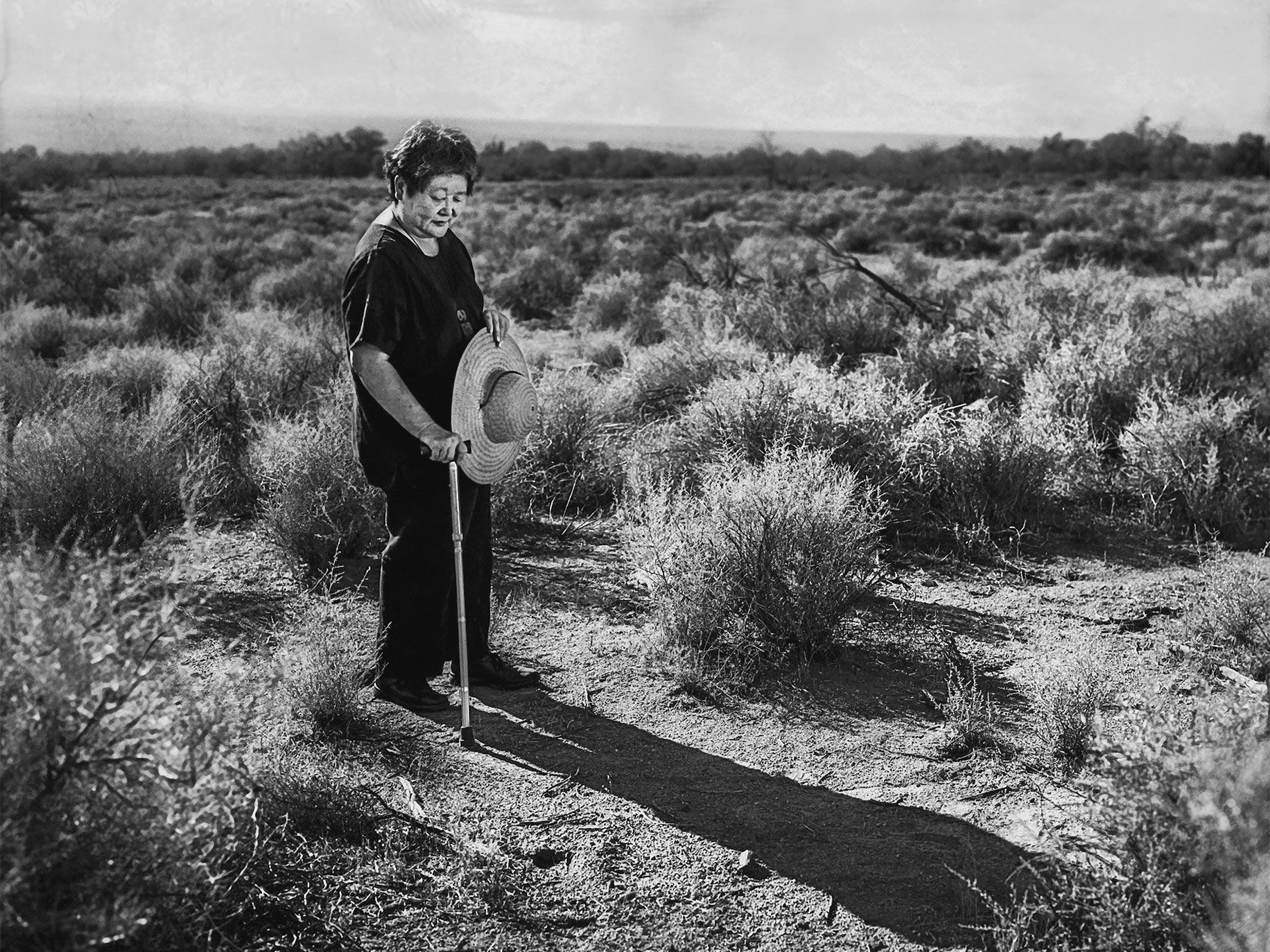 Yukiko Okinaga Llewellyn, 66, revisits the Manzanar War Relocation Center in 2005.
