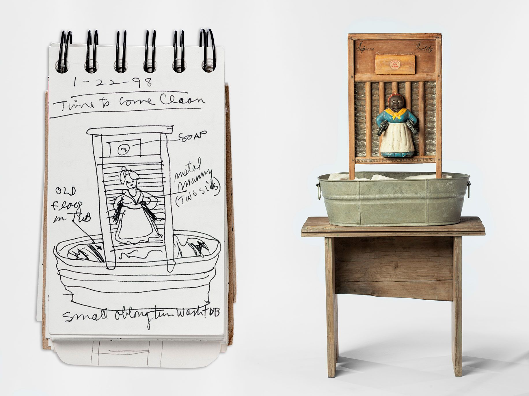 Left: The piece takes shape in Sketchbook 1998; LACMA displays many of Saar's sketchbooks alongside the finished works. Right: The figure of Aunt Jemima is prominent in several of Saar's works, including 1998's Supreme Quality.