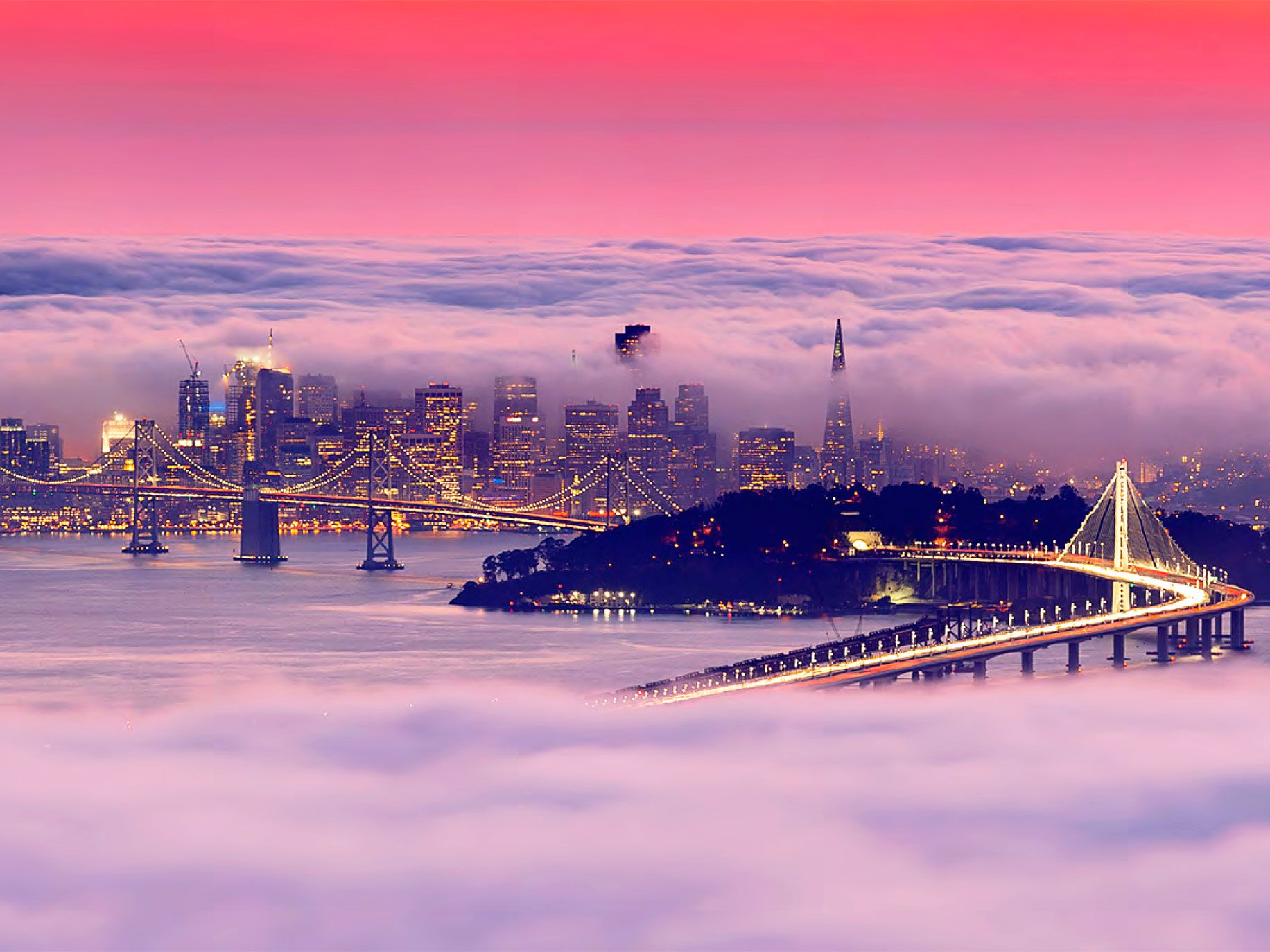 """A sunset """"fog sandwich"""" engulfs the City by the Bay at dusk in this photograph from San Francisco on Instagram."""
