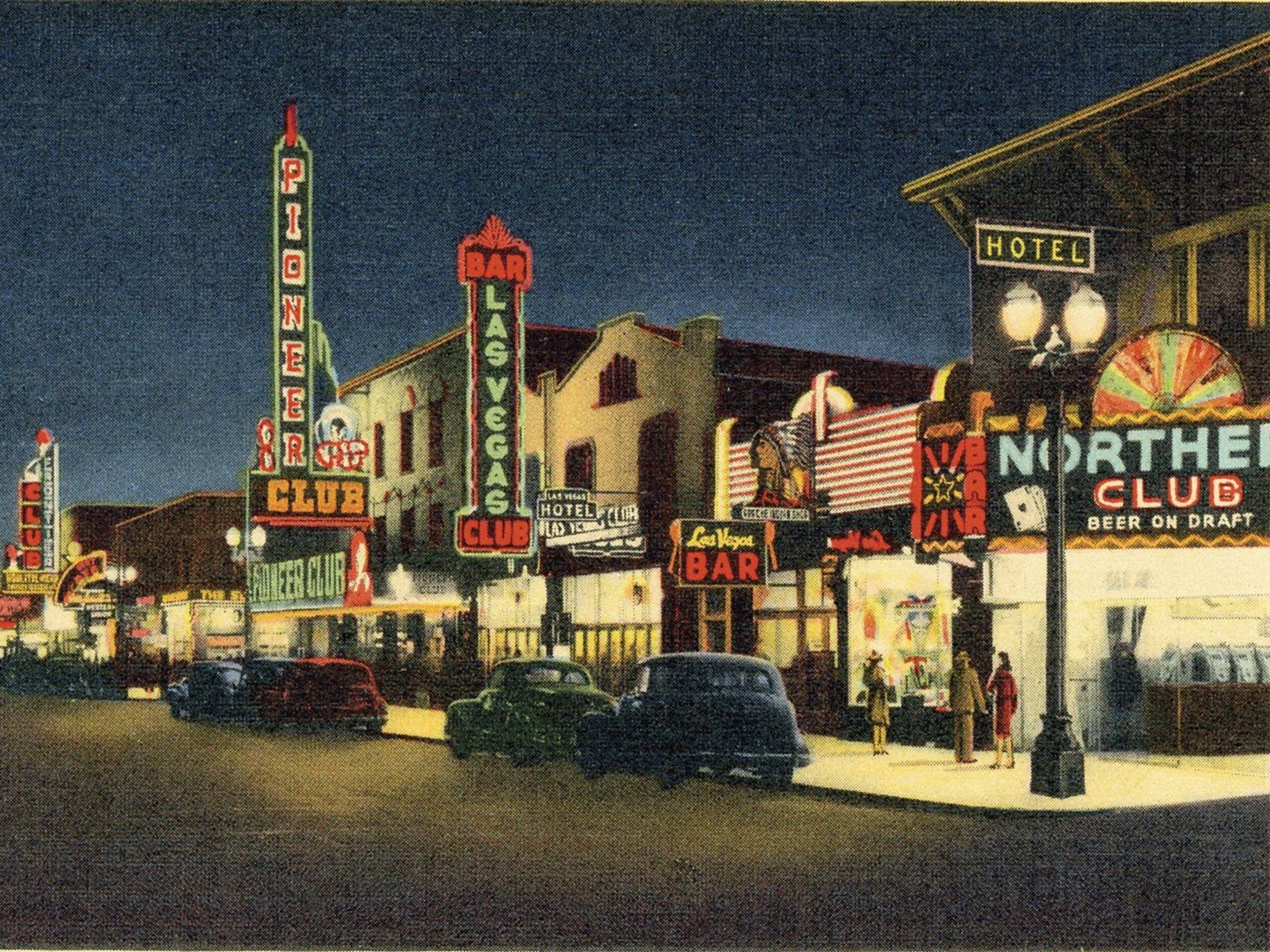 A 1943 scene showing Fremont Street in Las Vegas, from Greetings from Las Vegas.